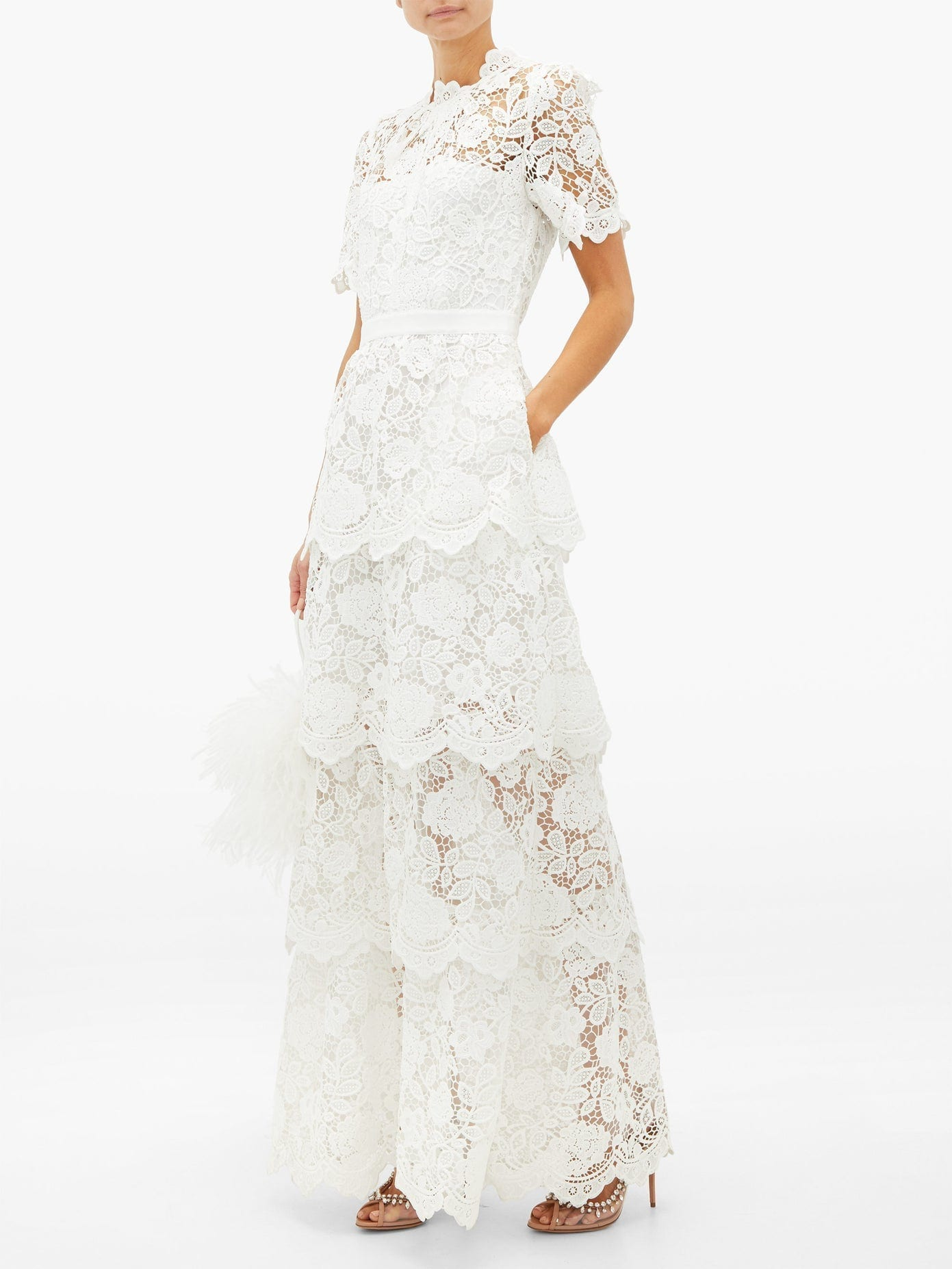 SELF-PORTRAIT Tiered-Skirt Floral-lace Dress