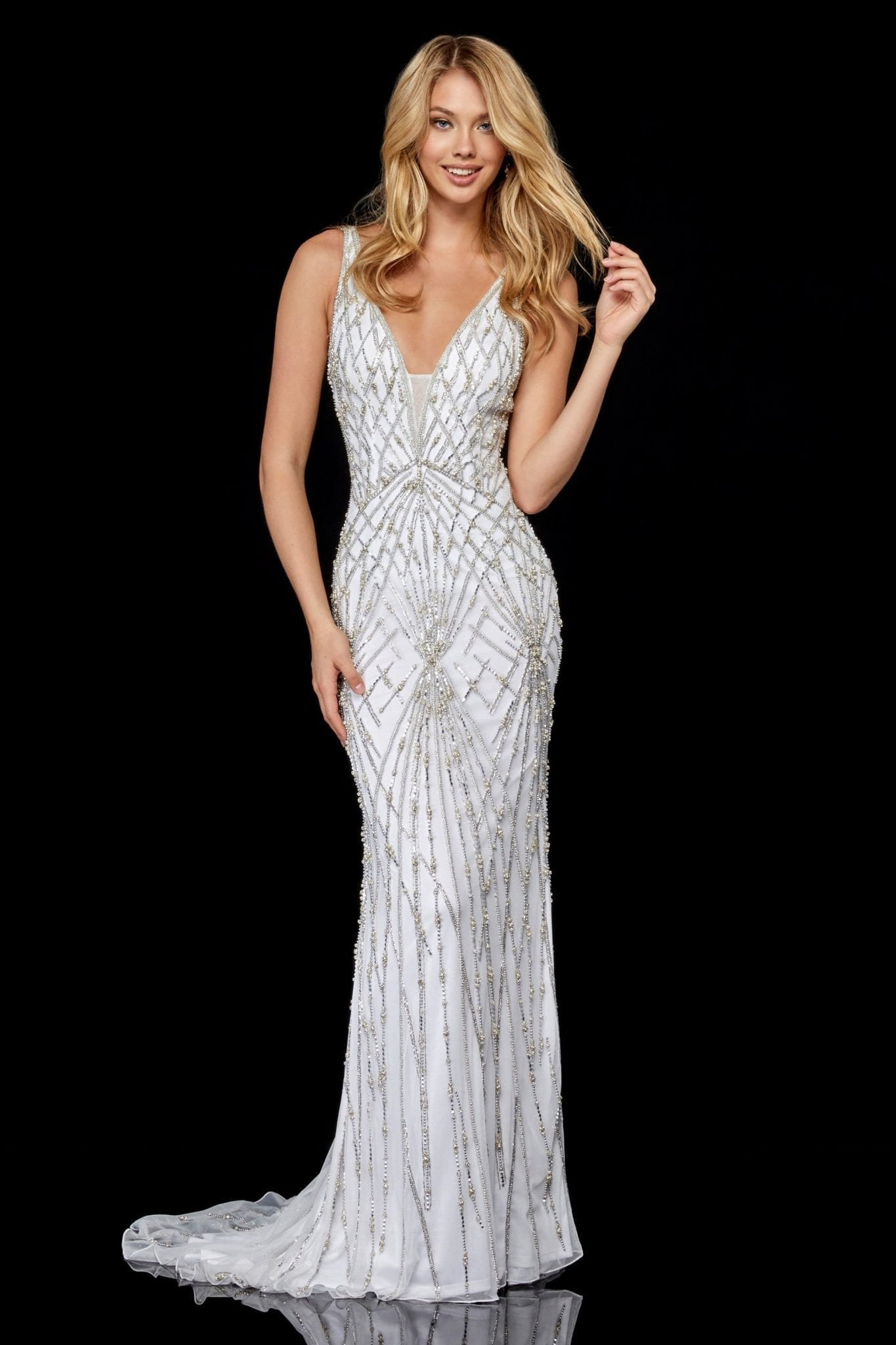 SHERRI HILL - 52324 V-Neck Long Beaded Dress