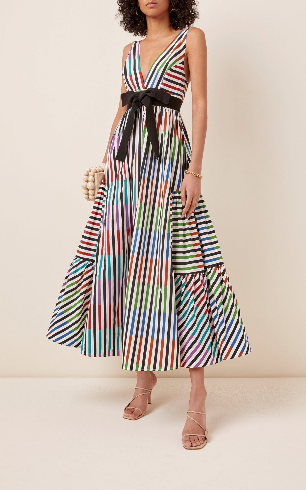 SILVIA TCHERASSI Catalina Del Mar Striped Cotton Maxi Dress