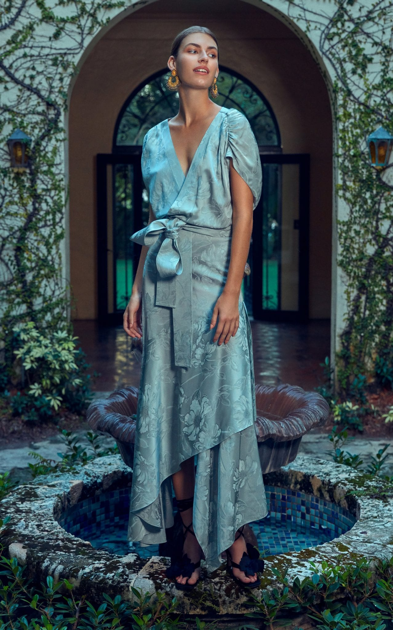 SILVIA TCHERASSI Exclusive Protea Draped Floral Jacquard Maxi Dress