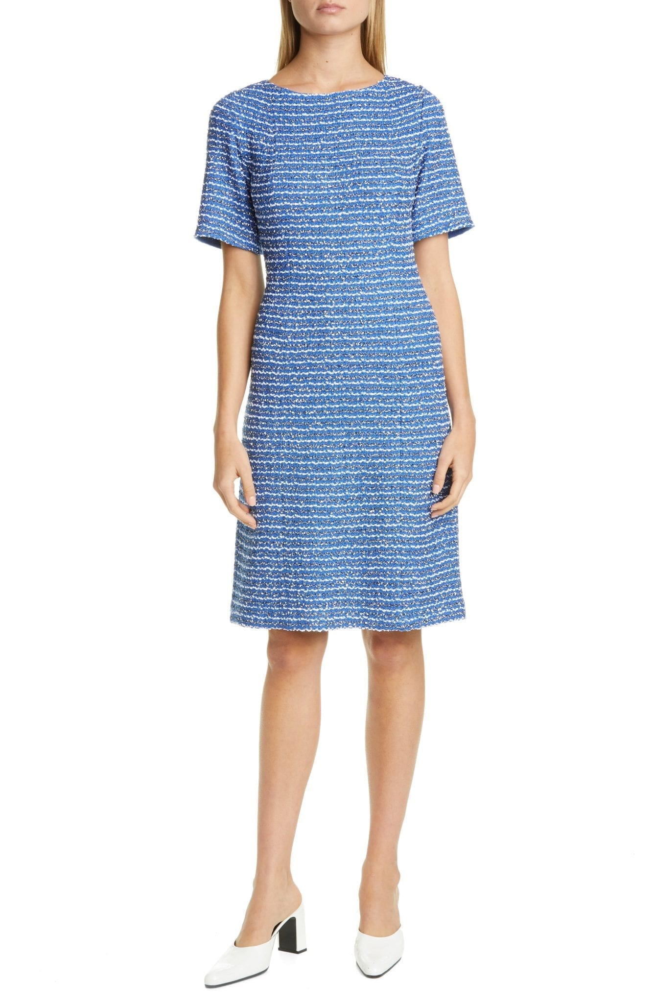ST. JOHN COLLECTION Butterfly Ribbon Tweed Knit A-Line Dress