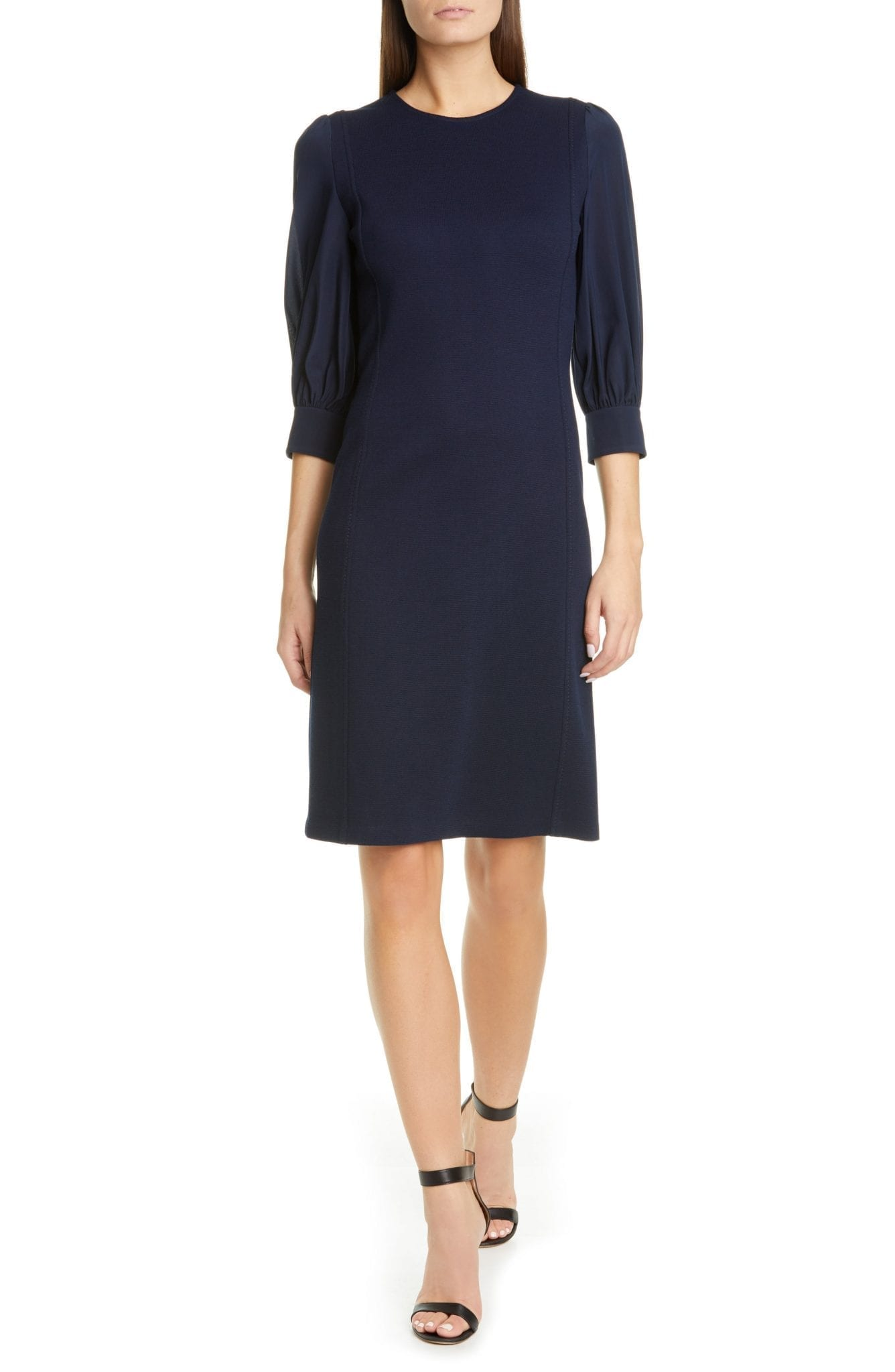 ST. JOHN COLLECTION Duo Milano Knit Mixed Media Dress