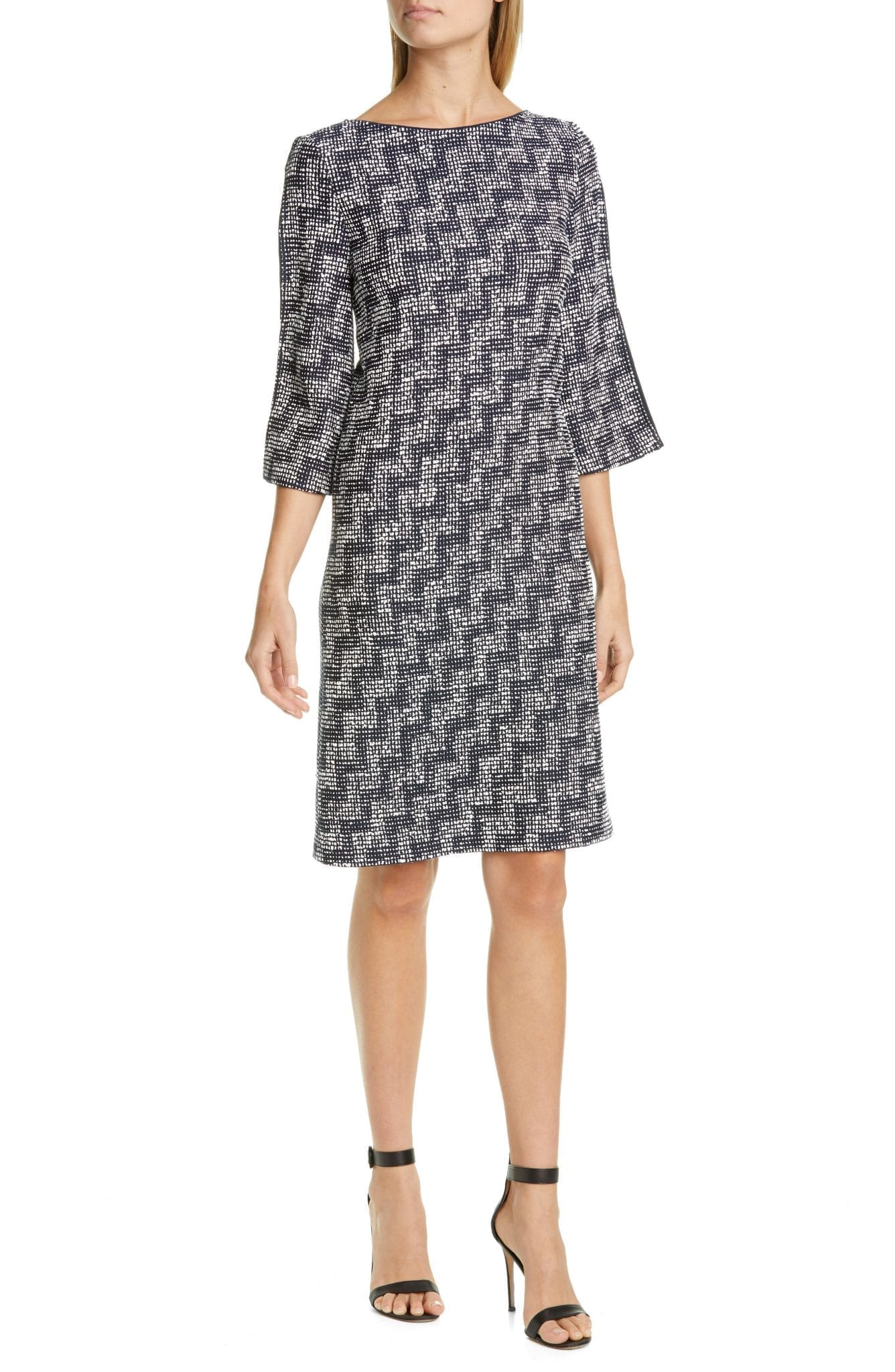 ST. JOHN COLLECTION Stepped Wicker Inlay Knit Dress