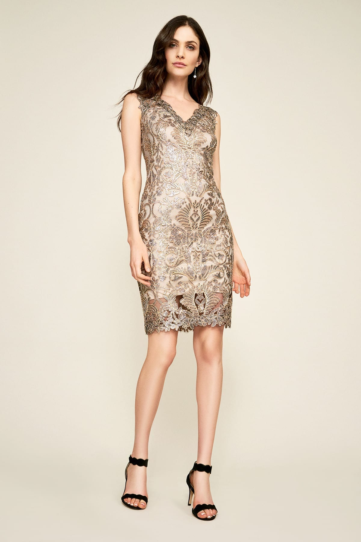 TADASHI SHOJI Antlia Metallic Corded Embroidered Dress