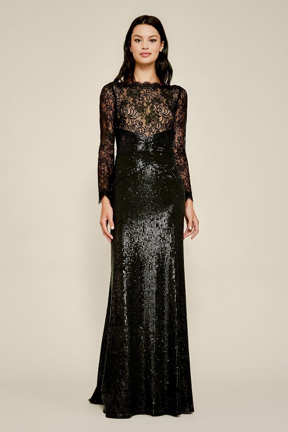 TADASHI SHOJI Aquila Lace Sequin Gown
