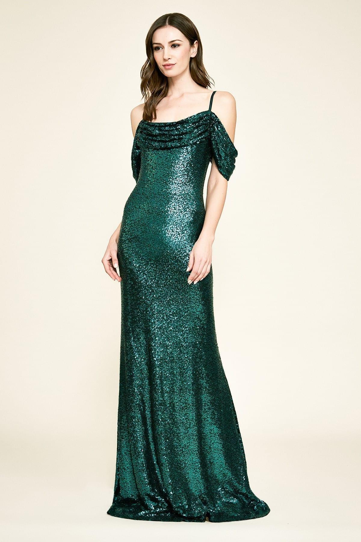 TADASHI SHOJI Ashby Sequin Strap Gown