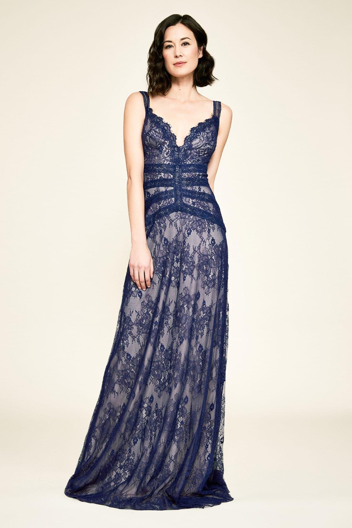 TADASHI SHOJI Dutton Strap Lace Gown