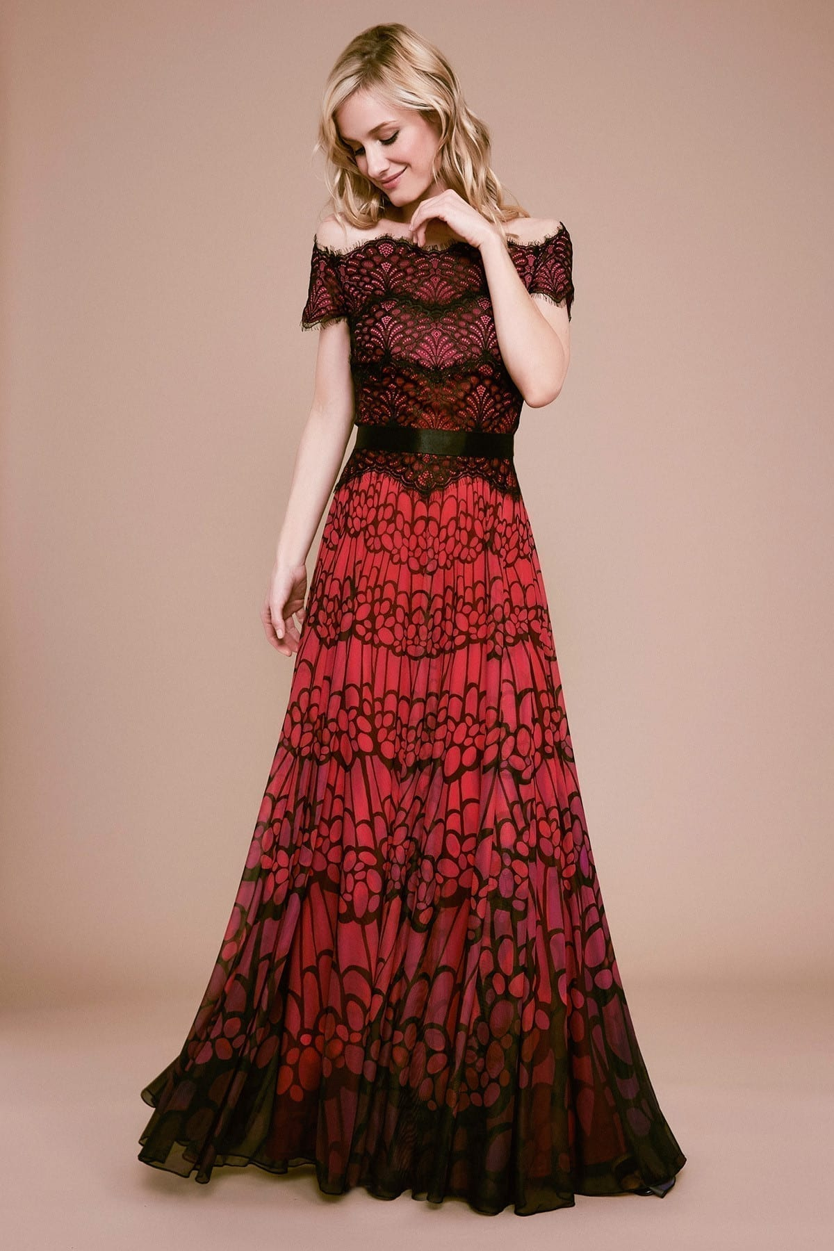 TADASHI SHOJI Itzel Off-the-shoulder Lace & Mesh Gown