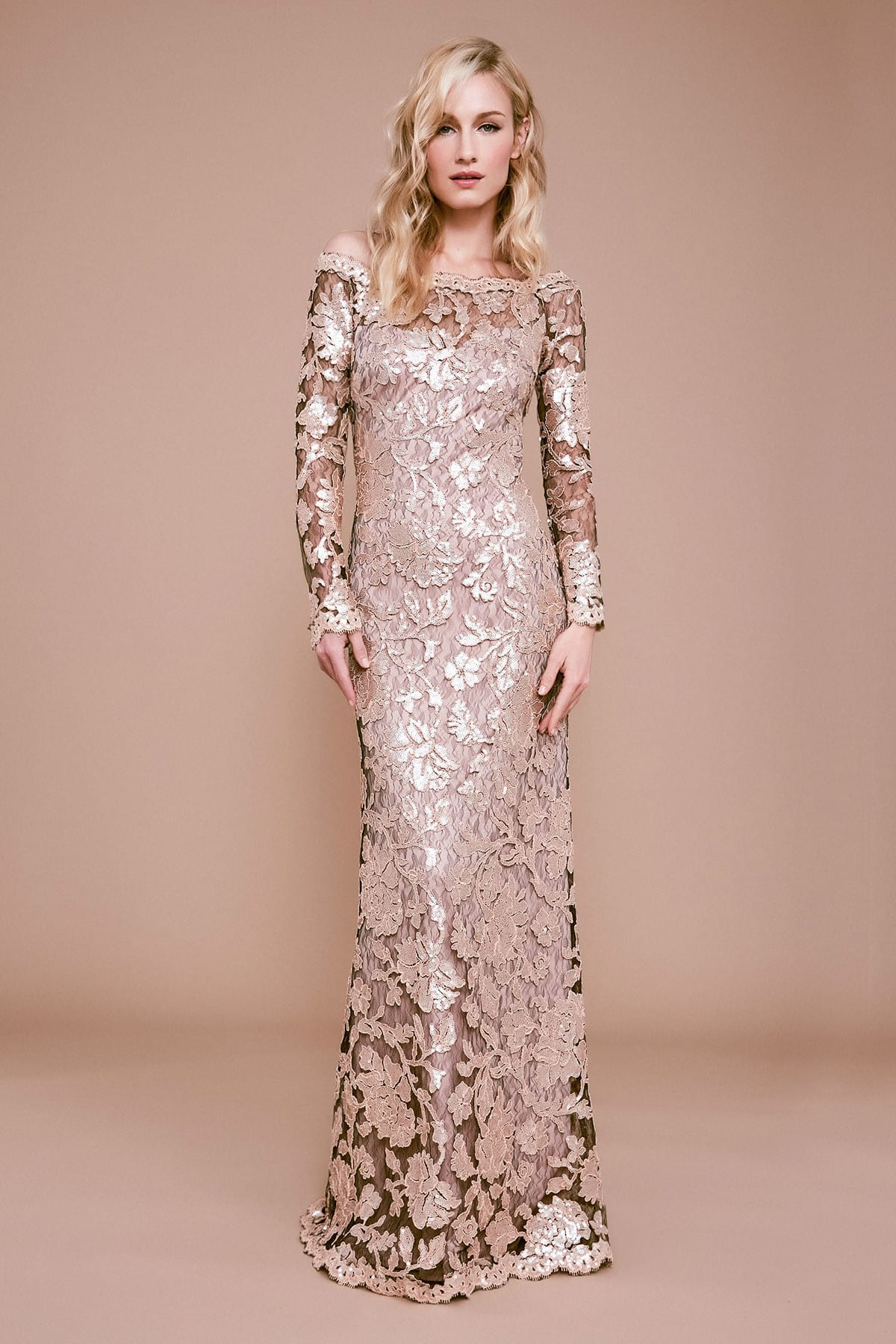 TADASHI SHOJI Ophelia Long-sleeve Metallic Embroidered Gown