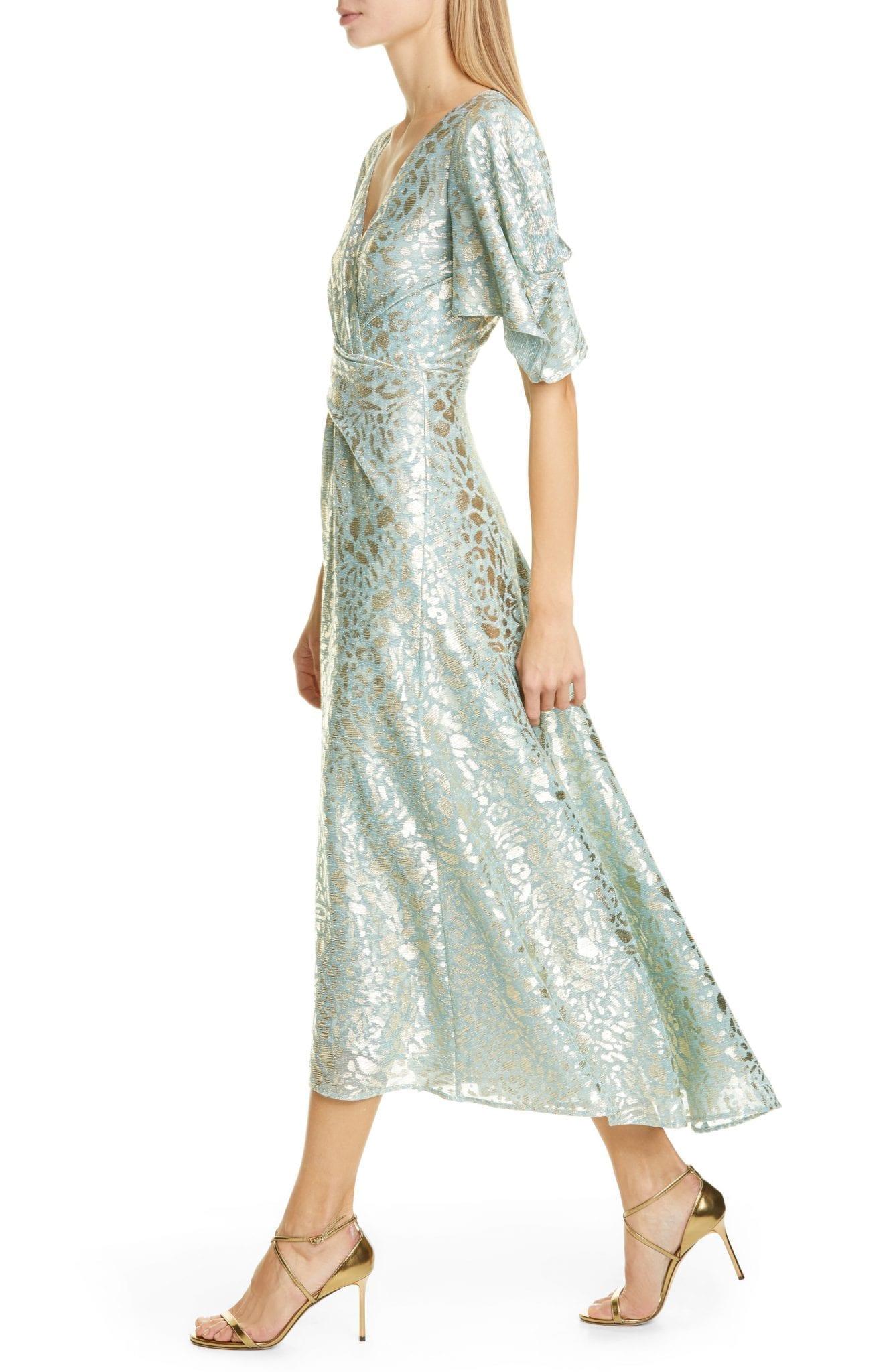TALBOT RUNHOF Metallic Animal Spot Voile Midi Dress