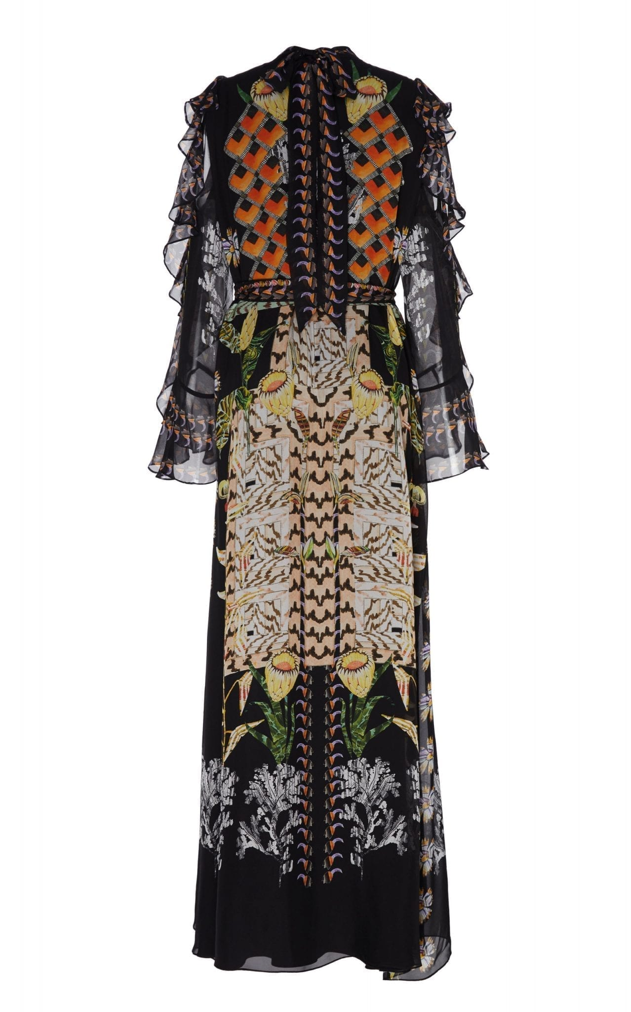 TEMPERLEY LONDON Harmony Printed Chiffon Cold-Shoulder Maxi Dress