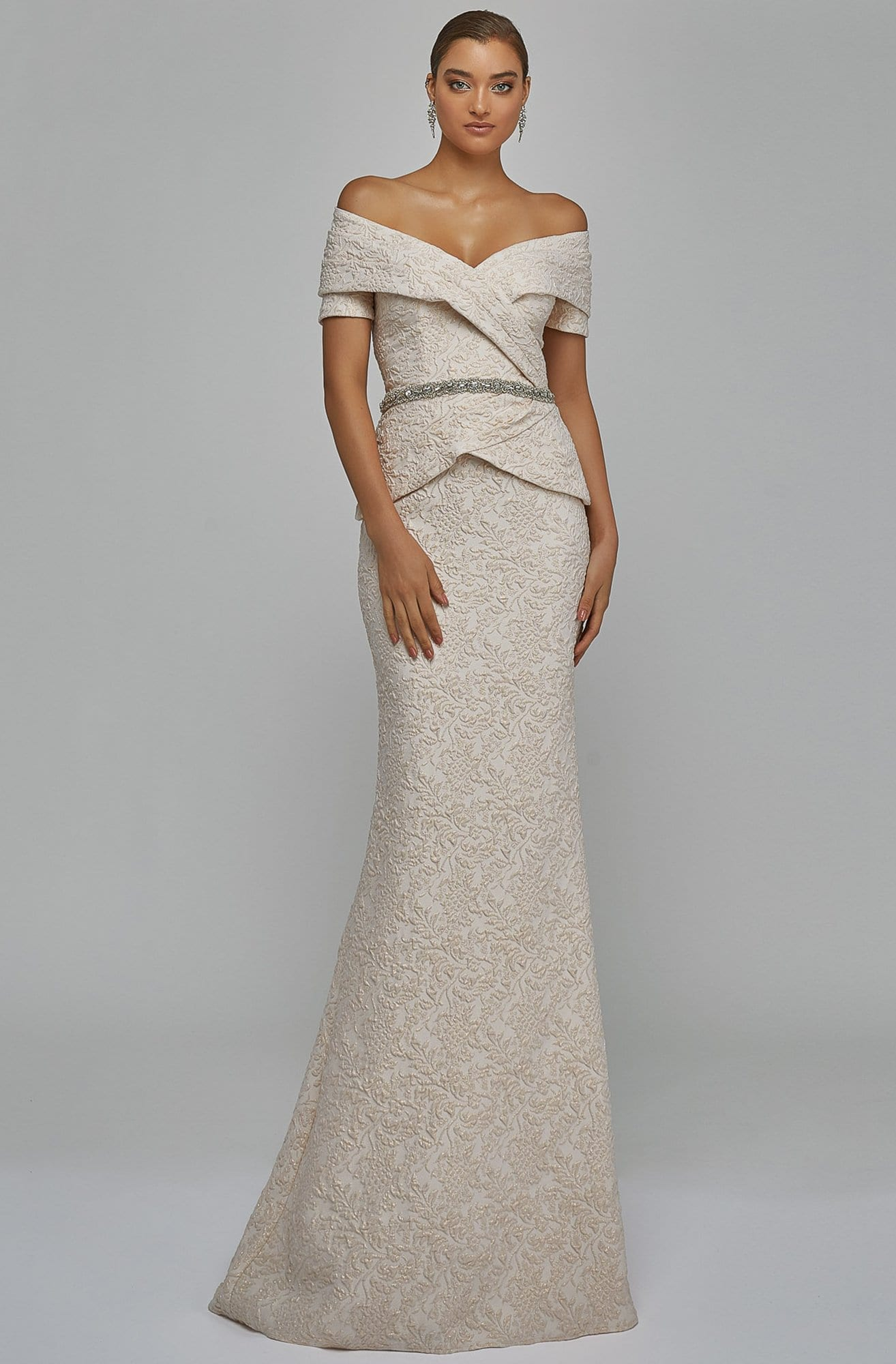 TERANI COUTURE - 1921M0727 Off Shoulder V Neck Beaded Belt Sheath Gown