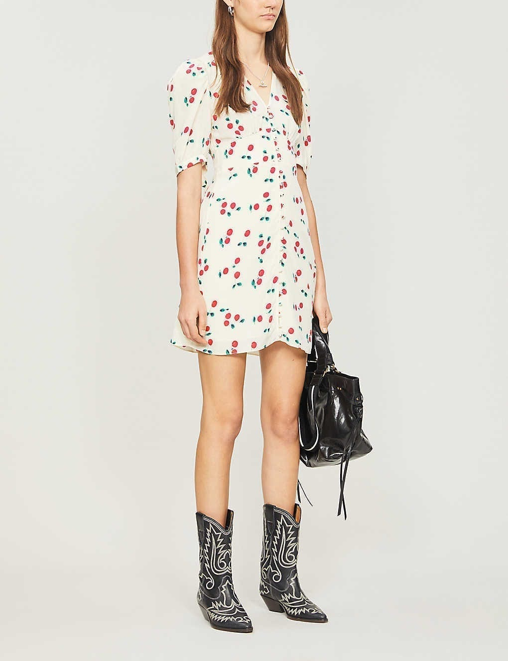 THE KOOPLES Cherry-print Silk Mini Dress