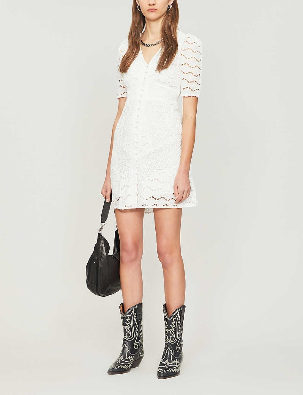 THE KOOPLES Lace-embroidered Cotton Mini Dress