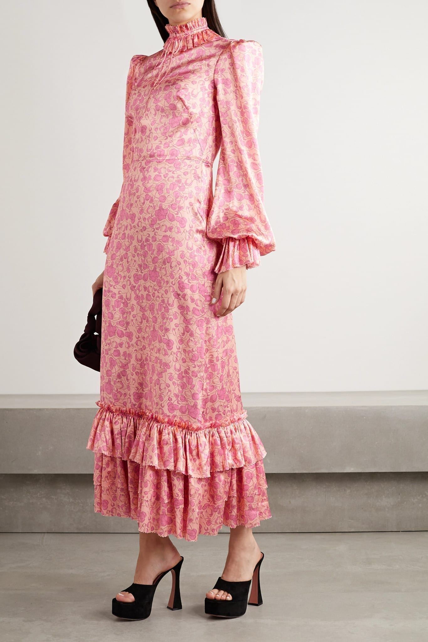 THE VAMPIRE'S WIFE Ruffled Floral-Print Silk-Satin Maxi Dress