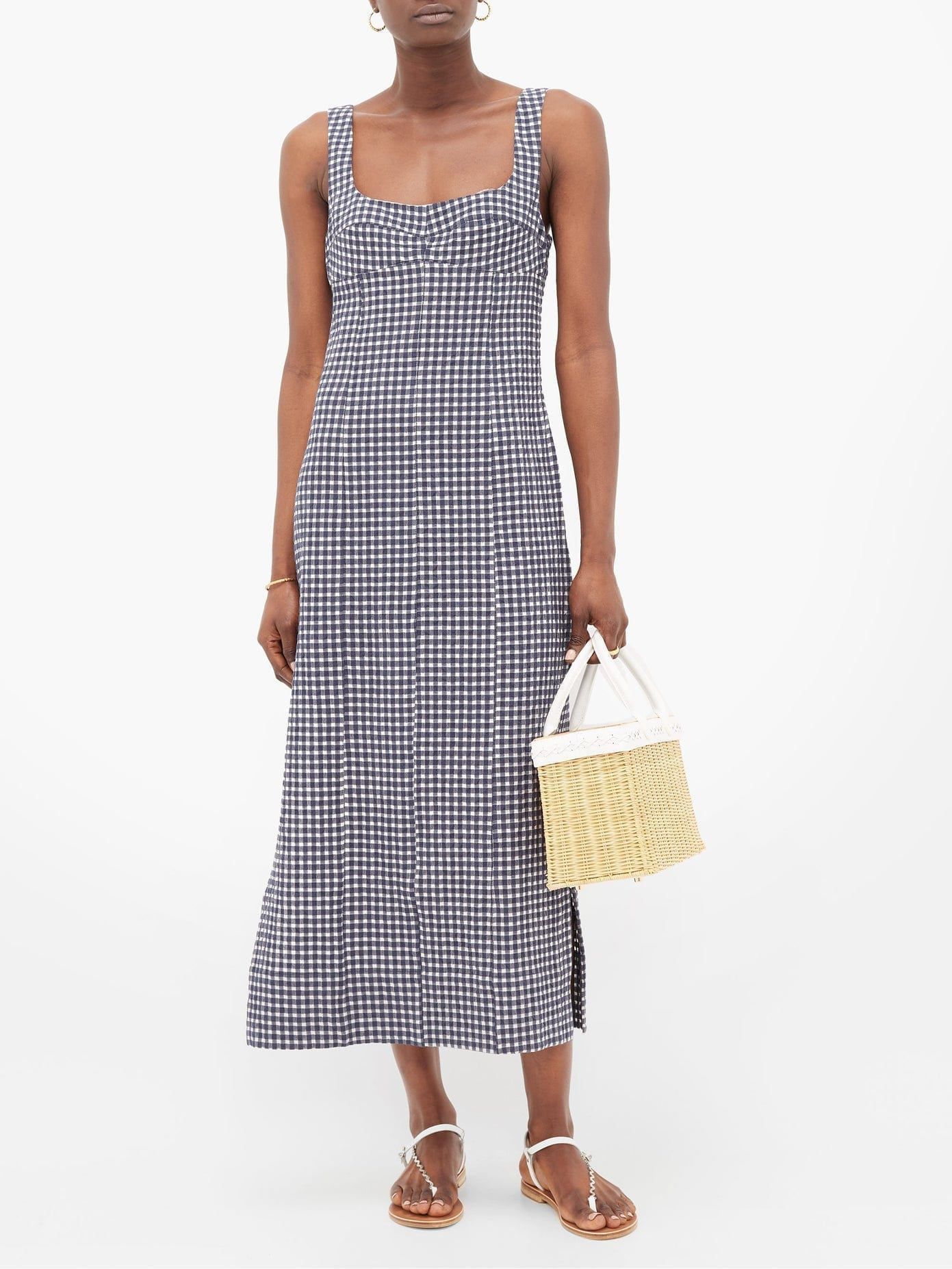 THREE GRACES LONDON Tomasina Gingham Cotton-seersucker Dress