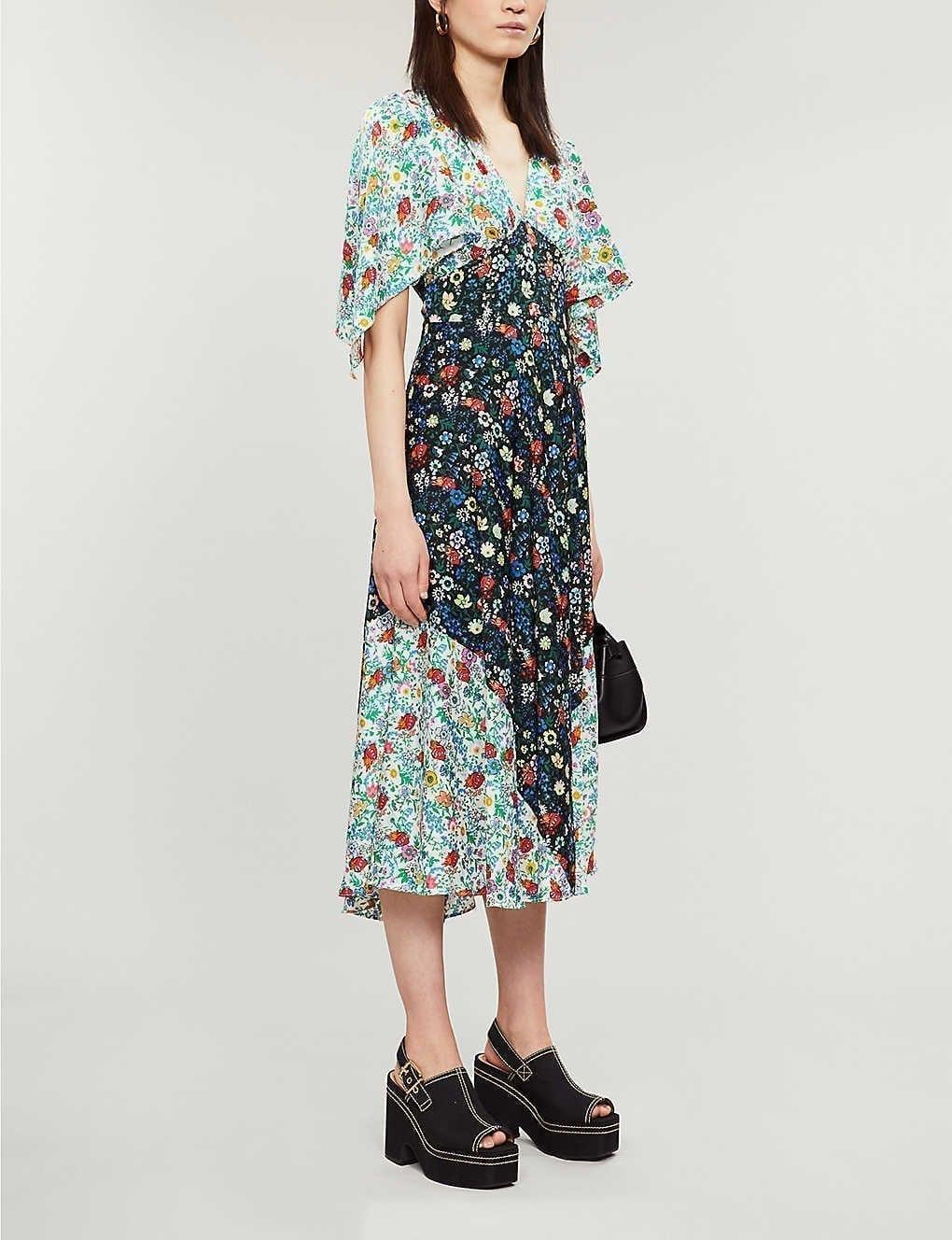 TOPSHOP Floral-print Woven Midi Dress