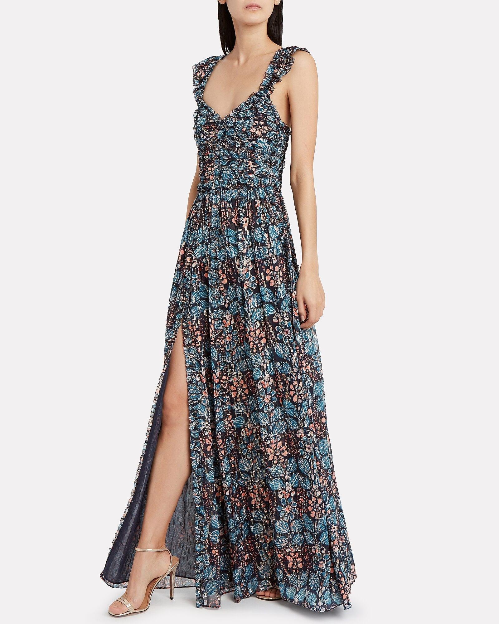 ULLA JOHNSON Evianna Silk Georgette Floral Gown