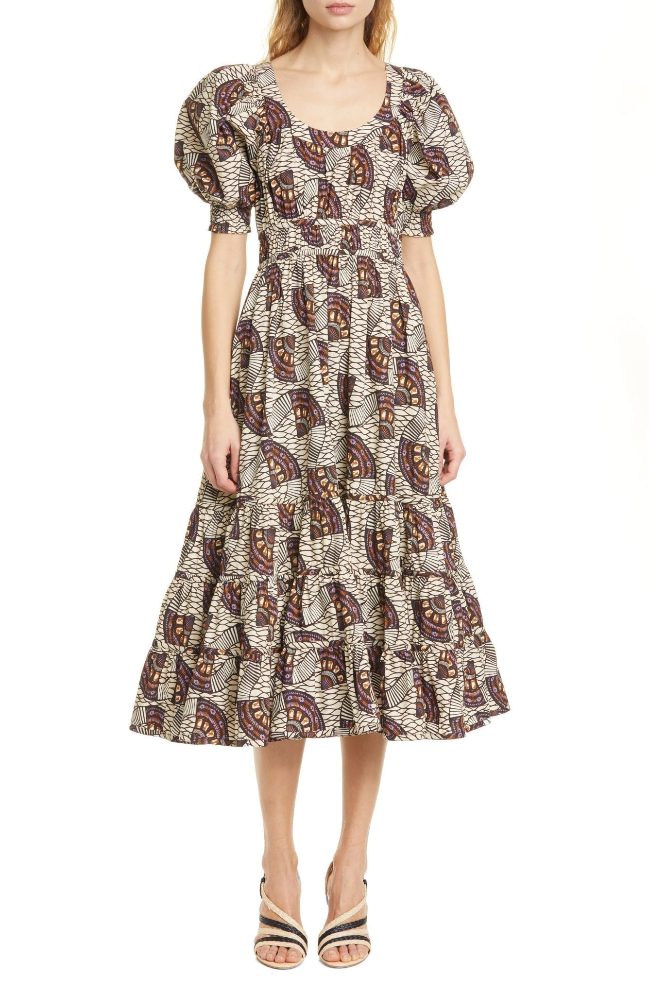 ULLA JOHNSON Juniper Puff Sleeve Midi Dress
