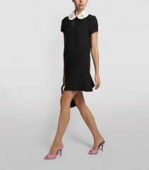 VALENTINO Cut-Out Contrast Collar Dress