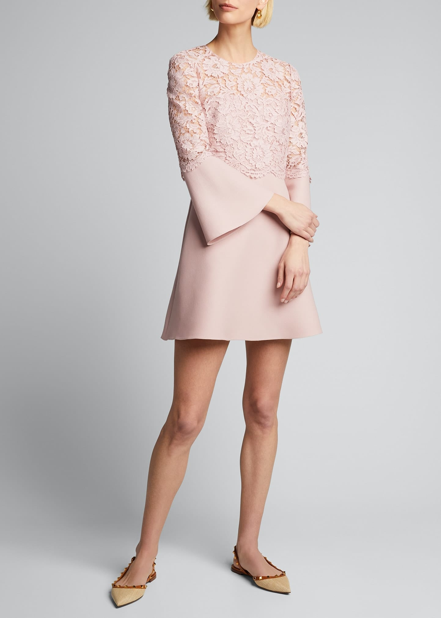 VALENTINO Lace-Bodice Crepe Flare-Sleeve Dress
