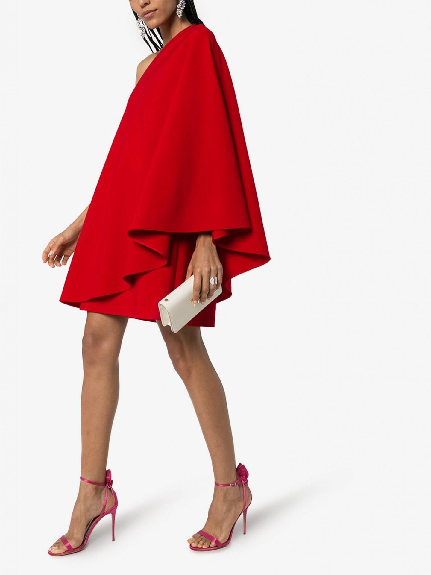 VALENTINO One Shoulder Flared Mini Dress