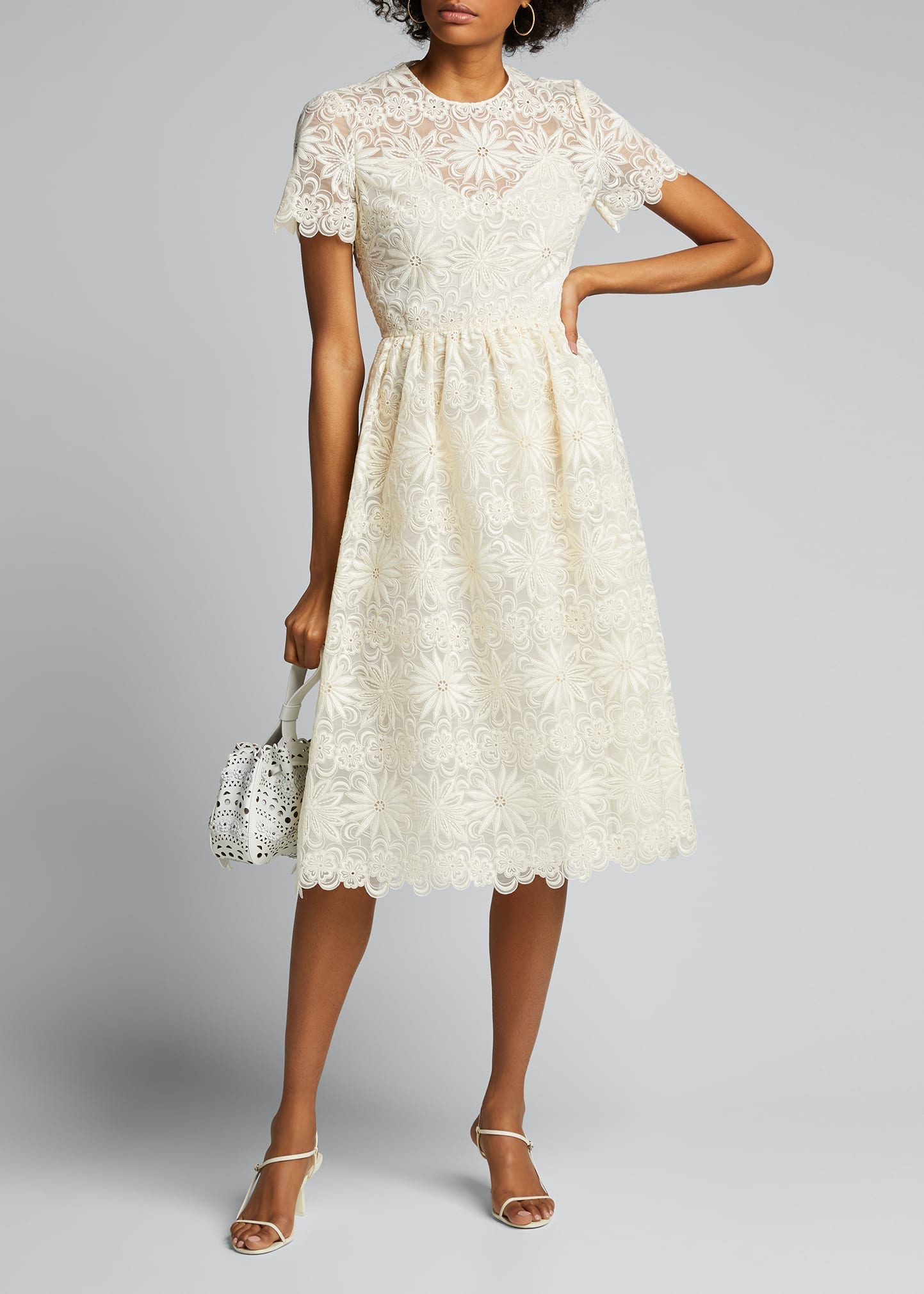 VALENTINO Short-Sleeve Lace Midi Dress