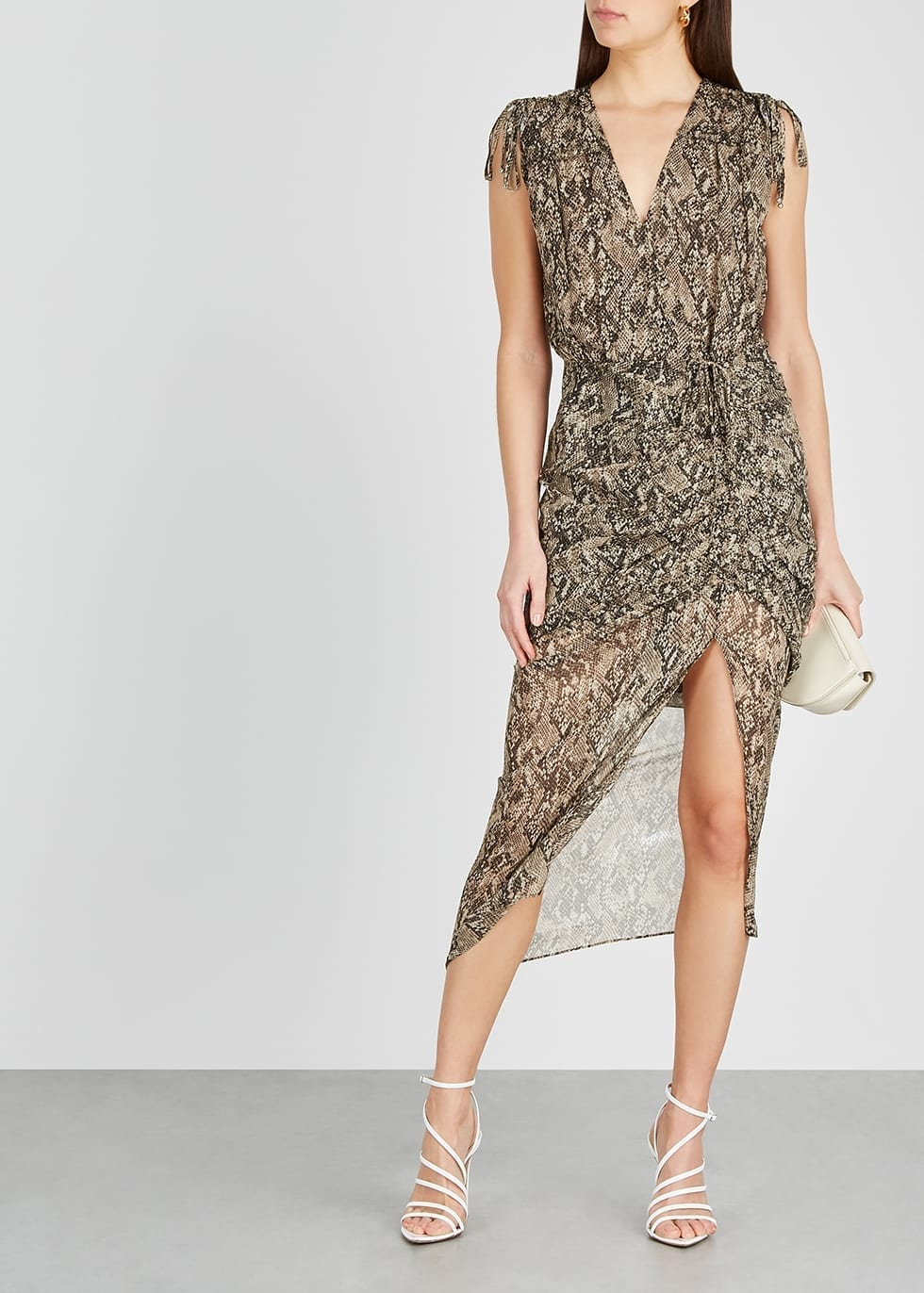 VERONICA BEARD Teagan Python-print Chiffon Midi Dress