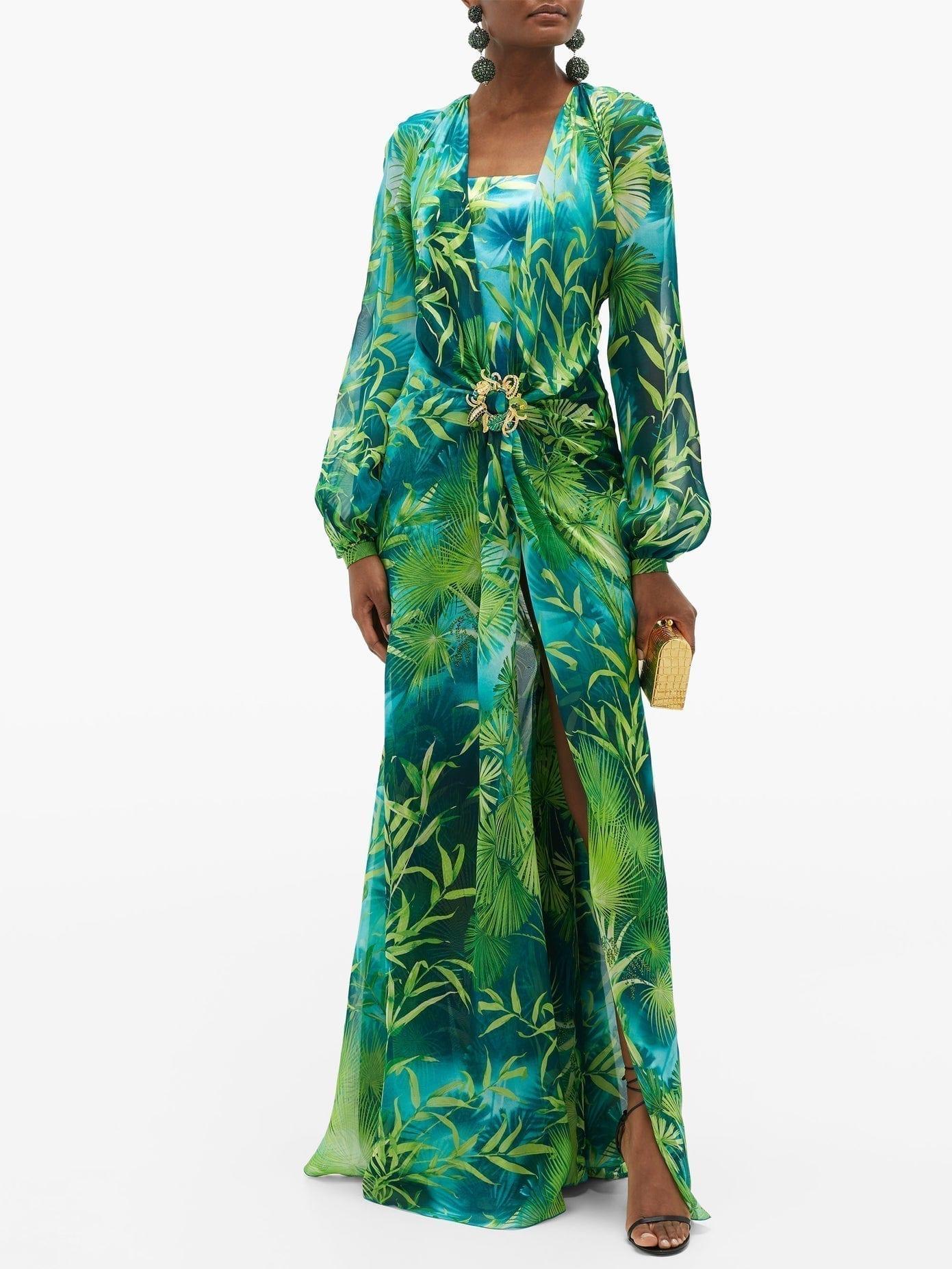 VERSACE Jungle-print Plunge-neck Silk-chiffon Dress