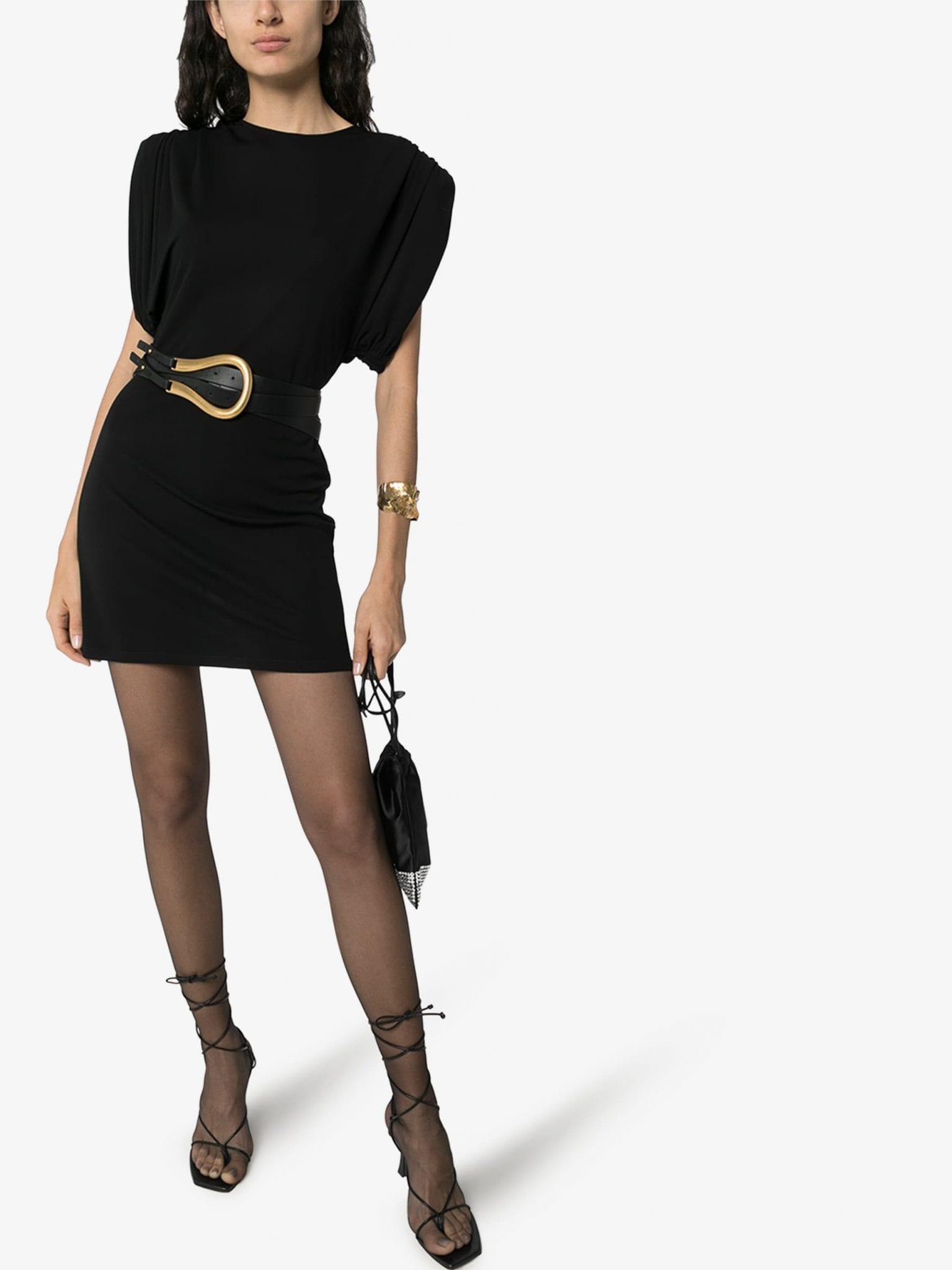 VERSACE Sculptural Shoulder Mini Dress
