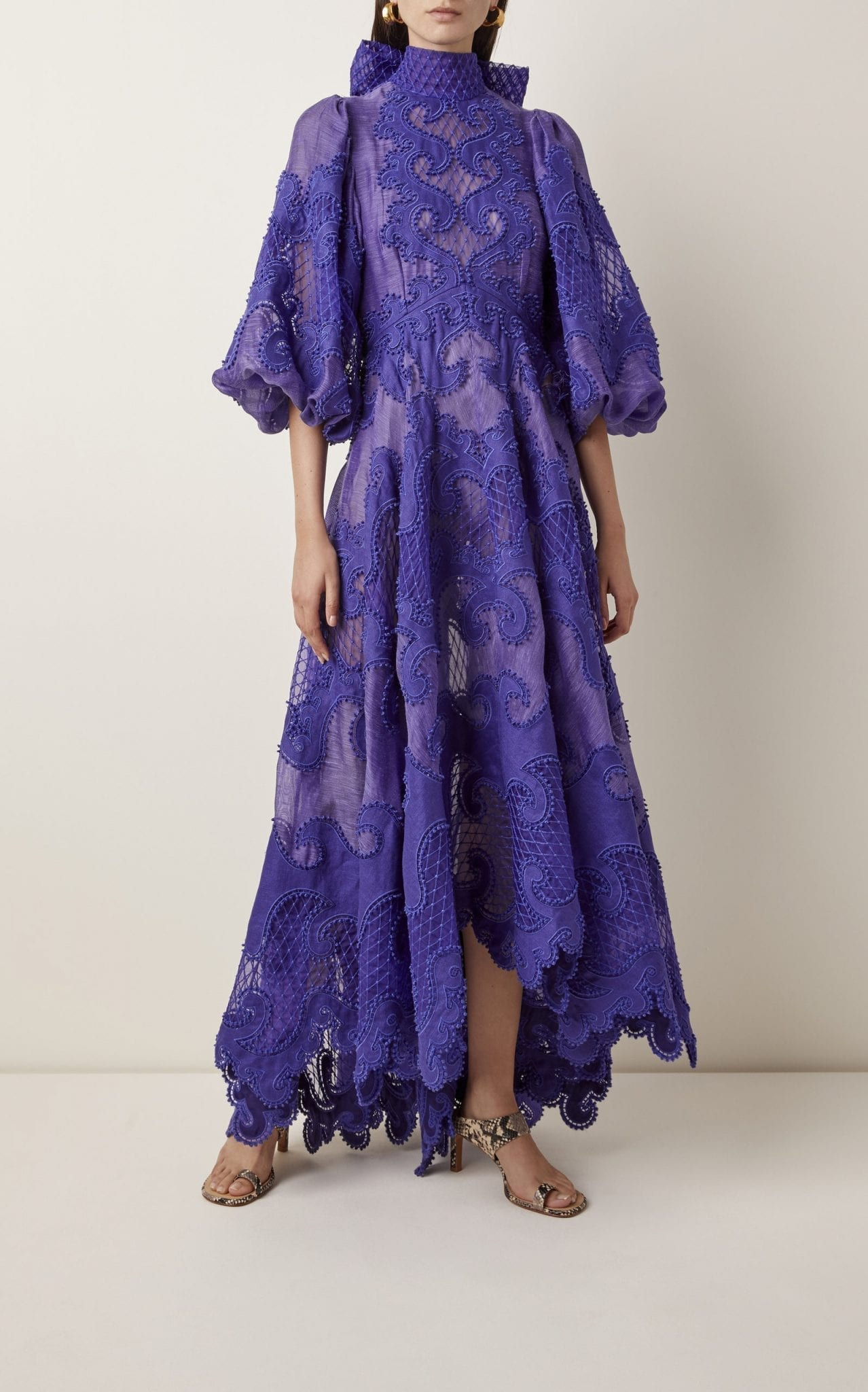 ZIMMERMANN Brightside Embroidered Linen-Silk Gown