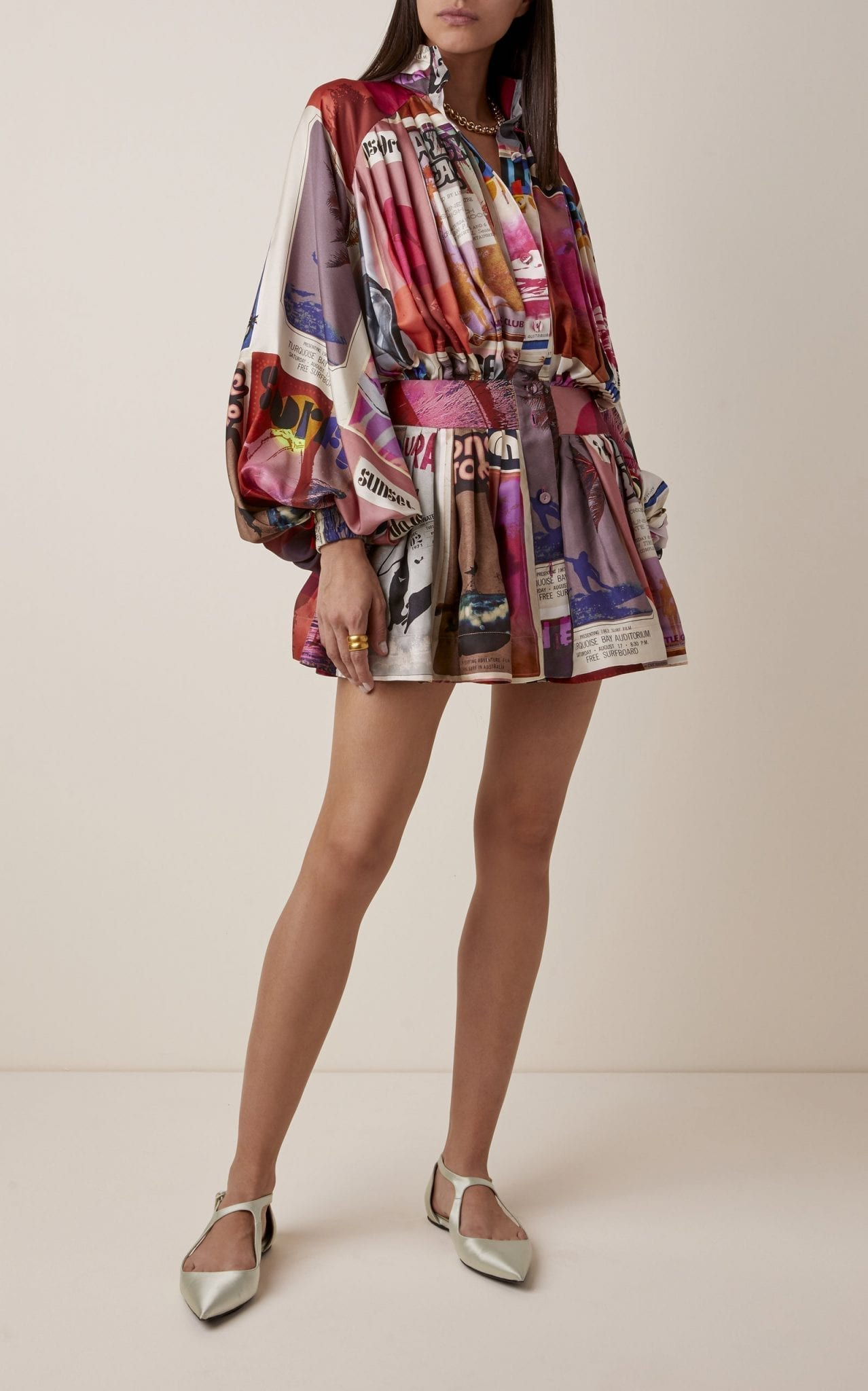 ZIMMERMANN Wavelength Ruffled Printed Silk Dress