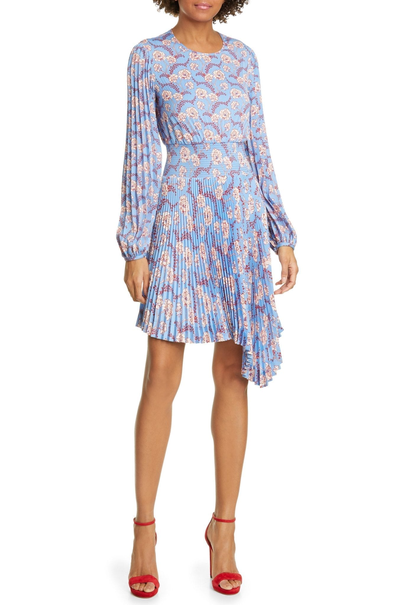 A.L.C. Behati Pleated Long Sleeve Mini Dress