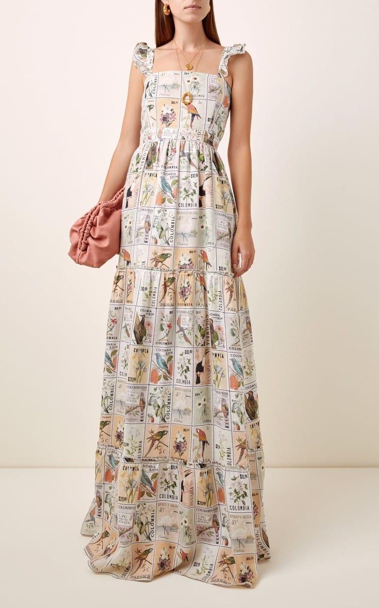 AGUA BY AGUA BENDITA Herbarium Printed Linen Maxi Dress