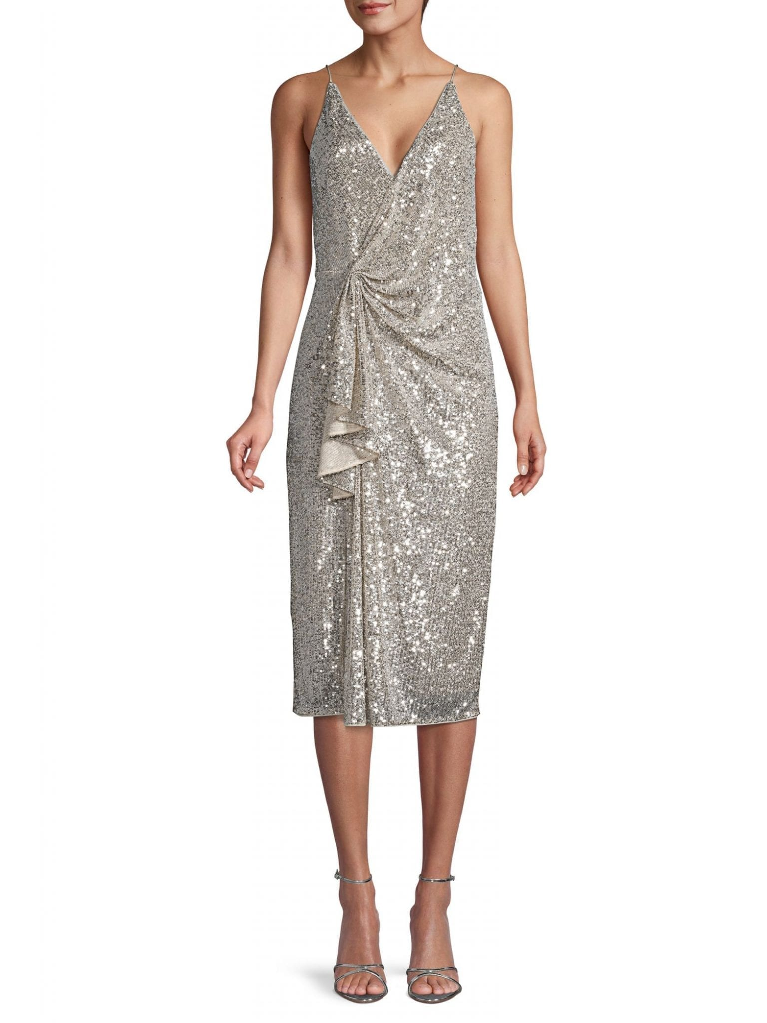 AIDAN BY AIDAN MATTOX Draped Sequin Dress