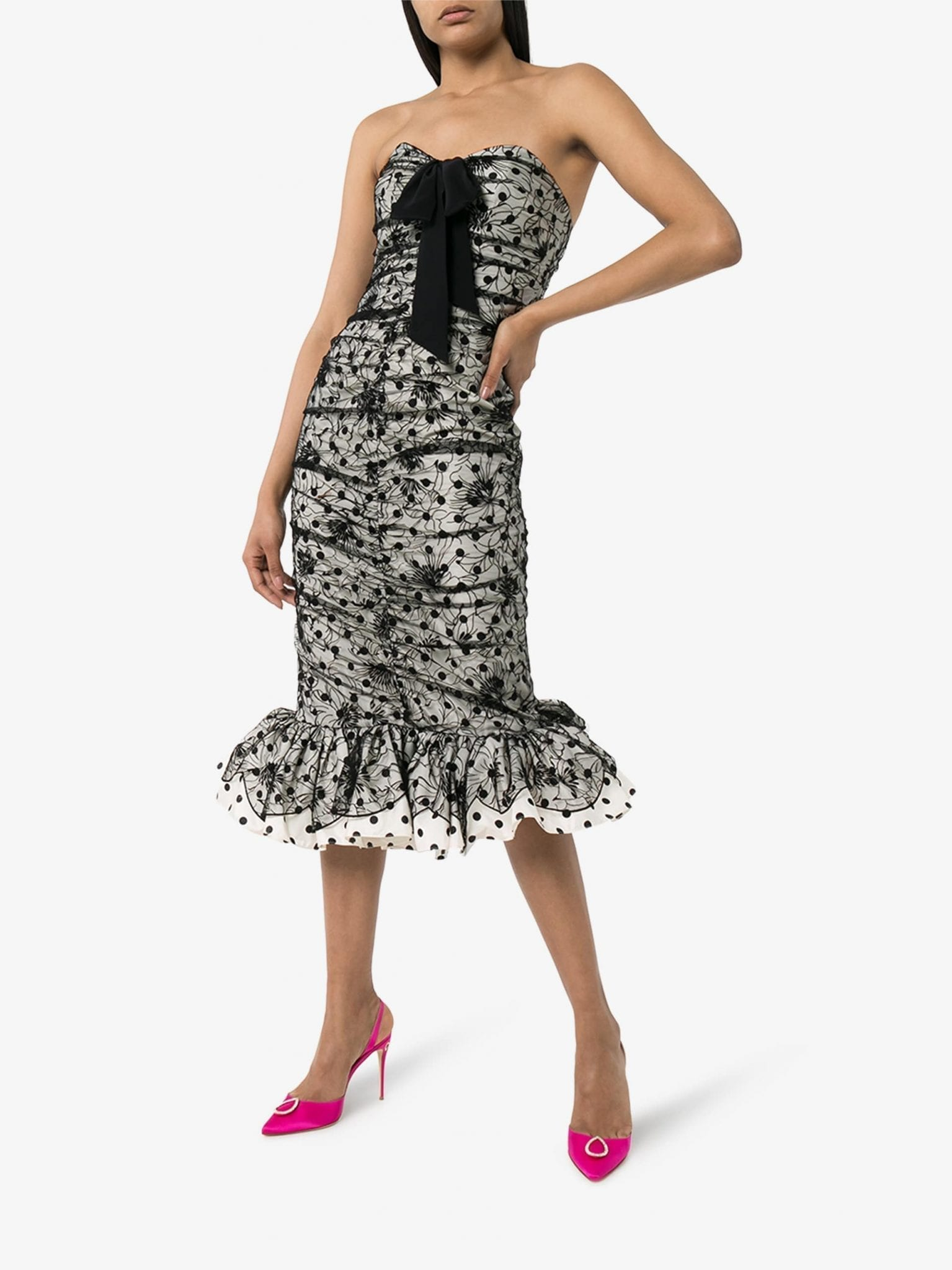 ALESSANDRA RICH Embroidered Taffeta Midi Dress