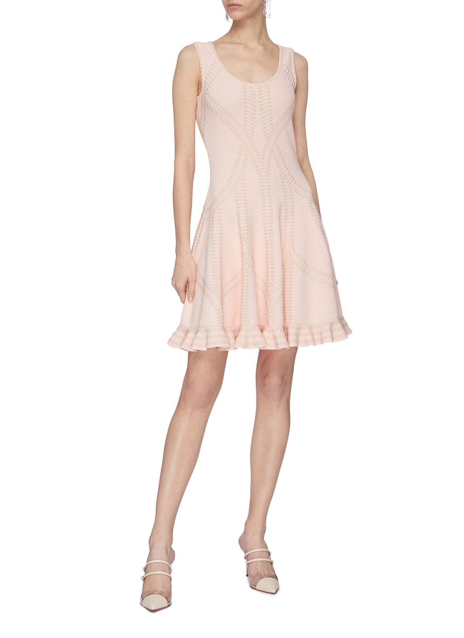 ALEXANDER MCQUEEN Cut Out Ruffle Hem Dress