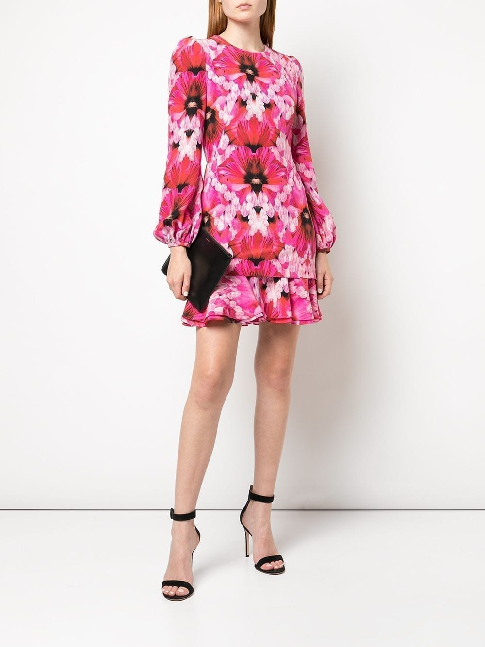 ALEXANDER MCQUEEN Floral Print Ruffled Dress