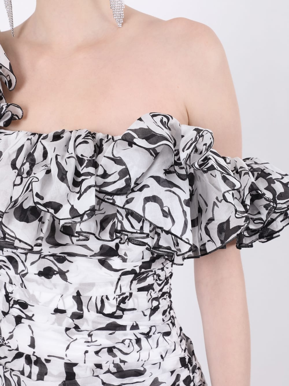 ALEXANDRE VAUTHIER Black And White Ruffled Mini Dress