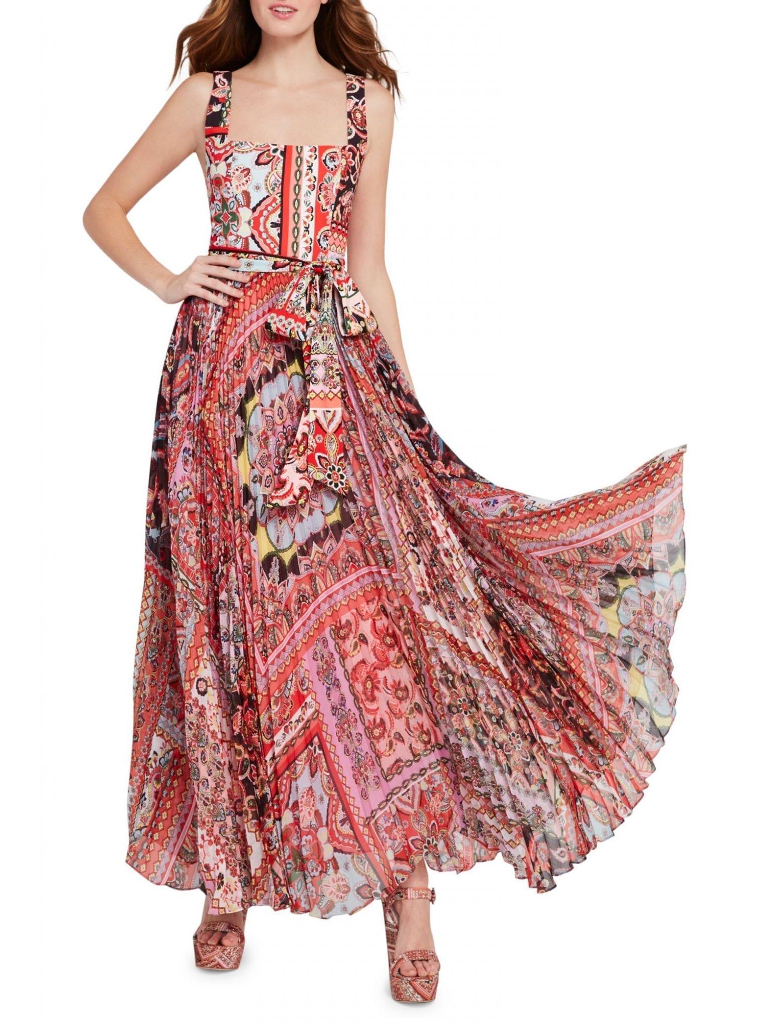 ALICE + OLIVIA Deonna Tie-Waist Pleated Dress
