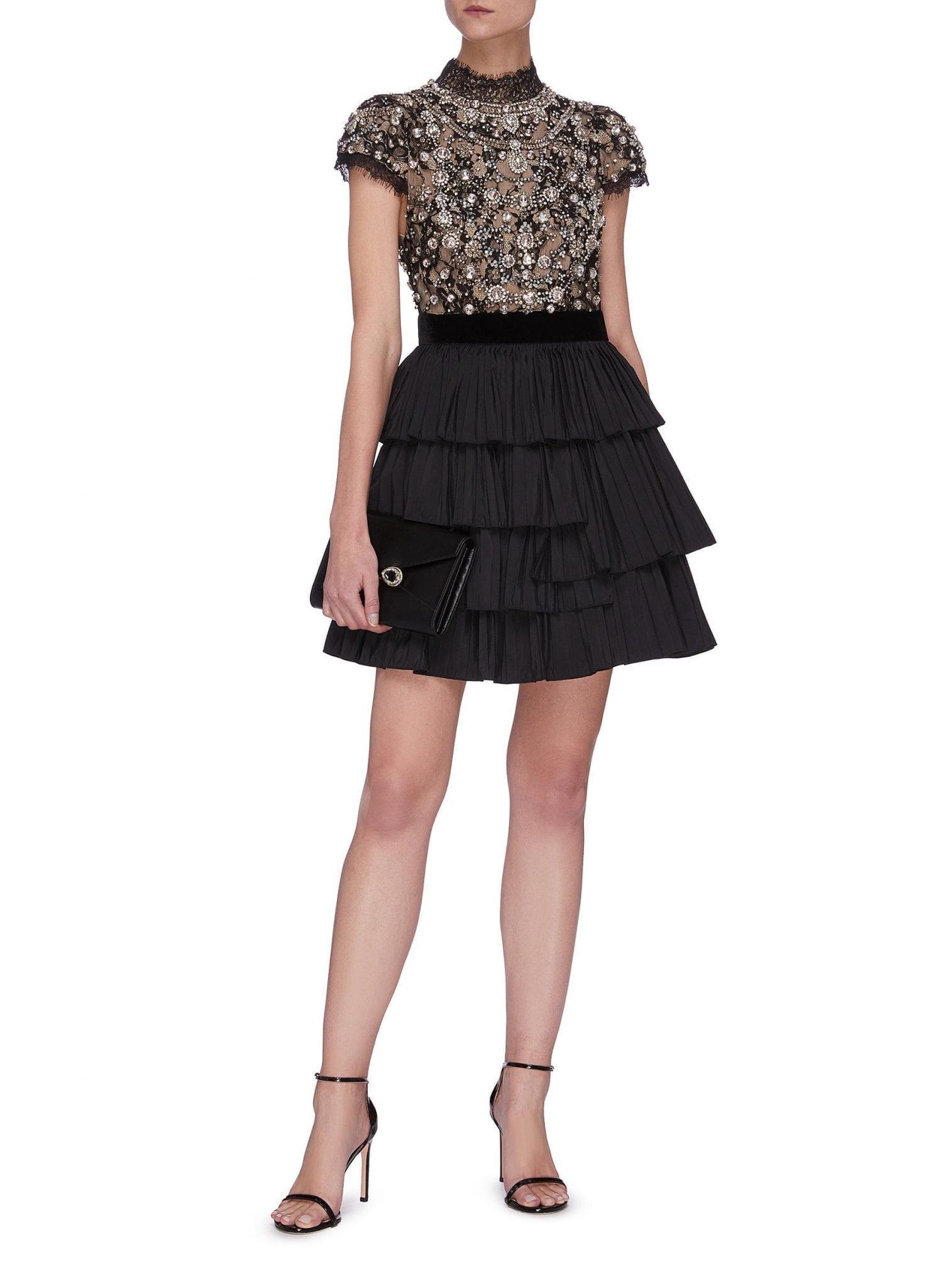 ALICE + OLIVIA 'Dorian' Crystal Embellished Tier Dress