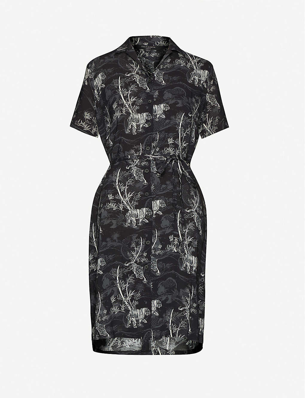 ALLSAINTS Athea Graphic-print Woven Midi Dress