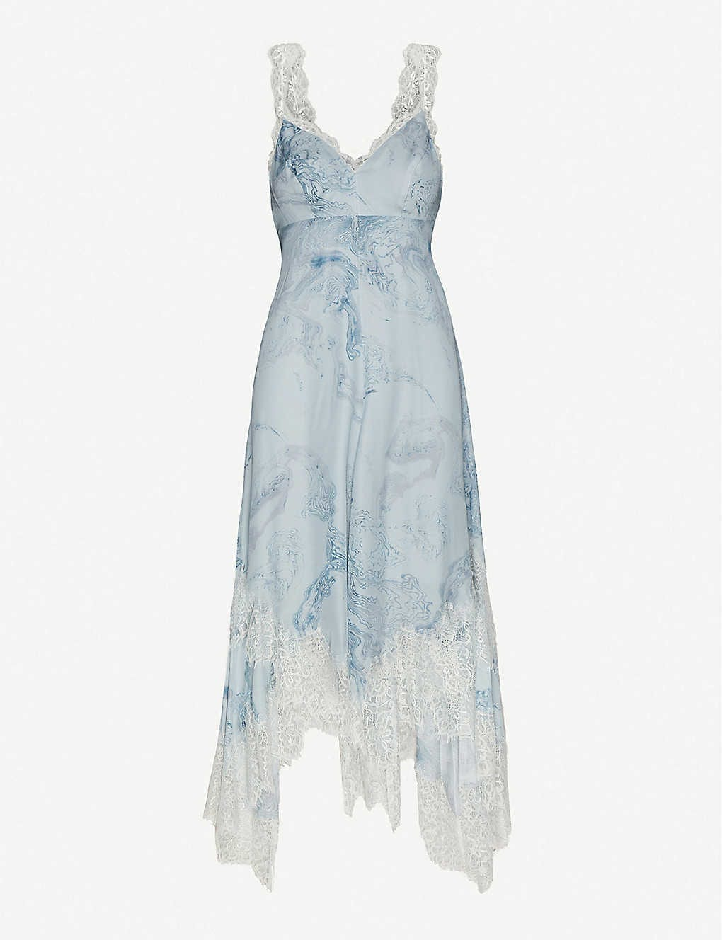 ALLSAINTS Skylar Hatsukoi Lace-trimmed Printed Satin Midi Dress