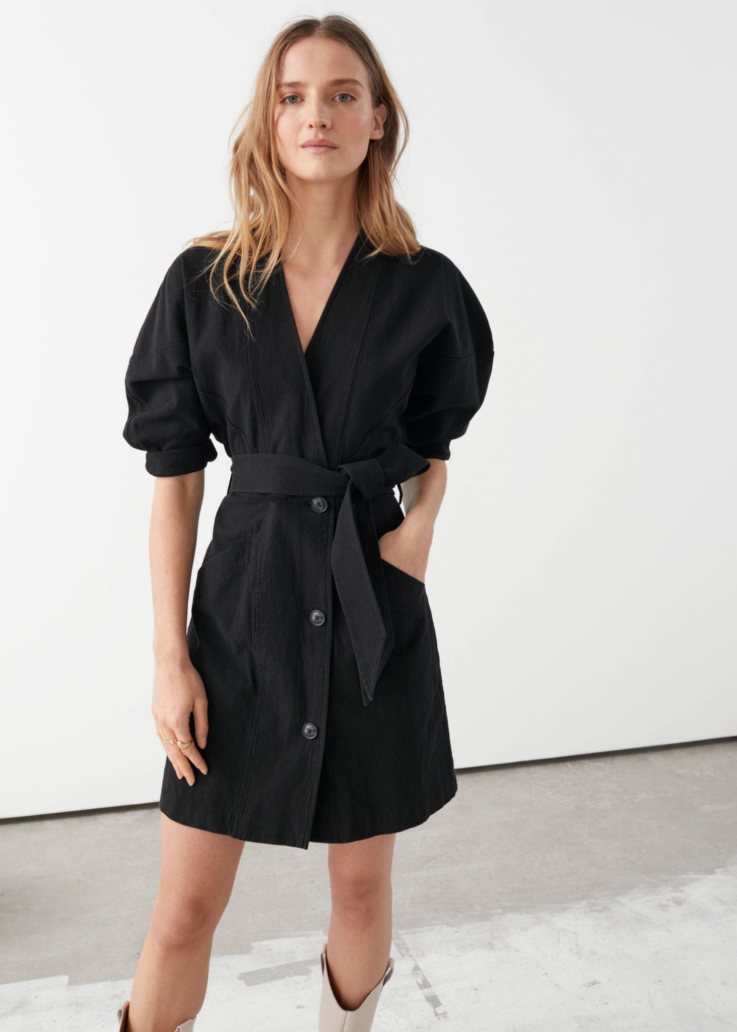 AND OTHER STORIES Double Breasted Puff Sleeve Mini Dress