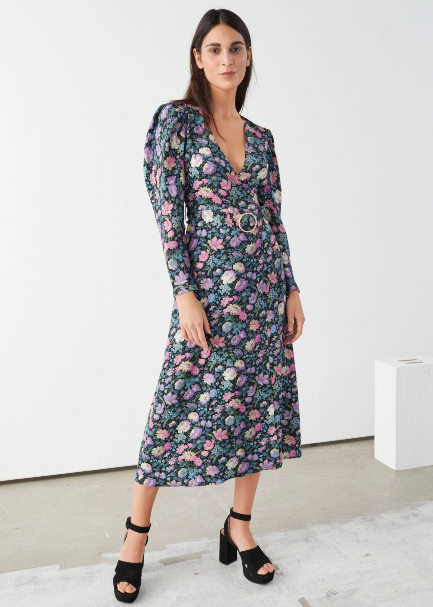 AND OTHER STORIES Pearl Buckle Belted Midi Dress