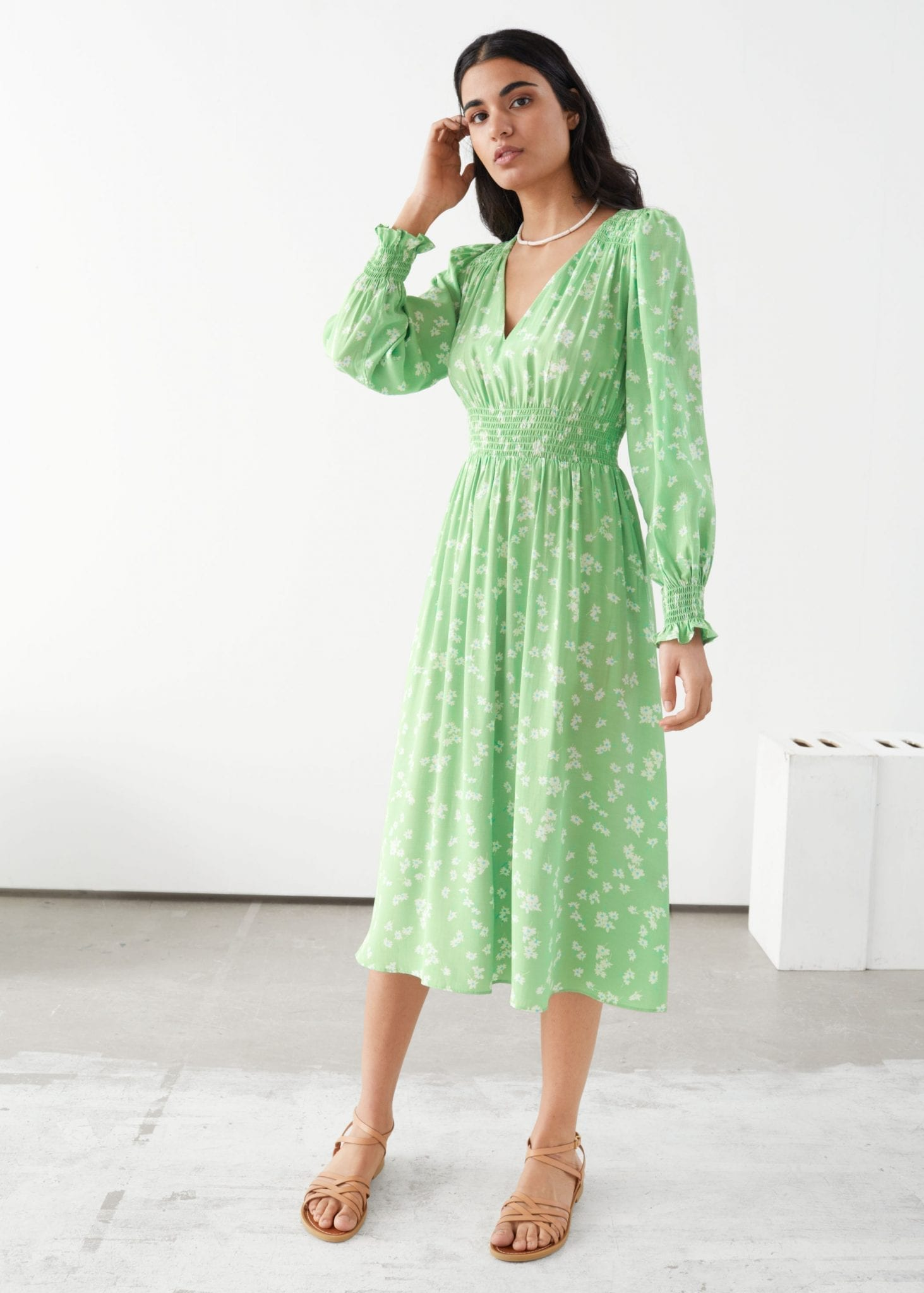 AND OTHER STORIES Pleated Smock Midi Dress
