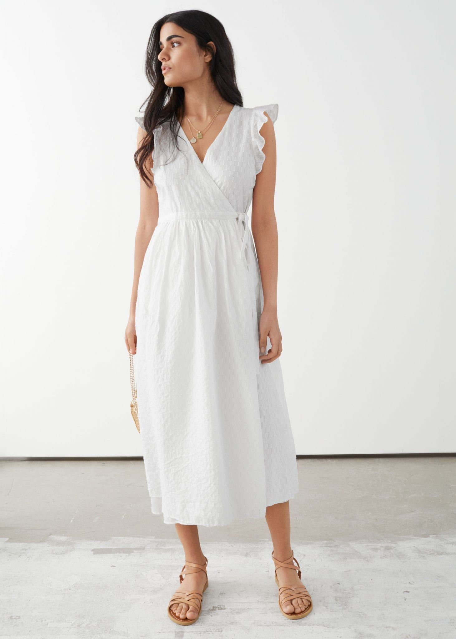 AND OTHER STORIES Ruffled Cotton Dobby Midi Dress