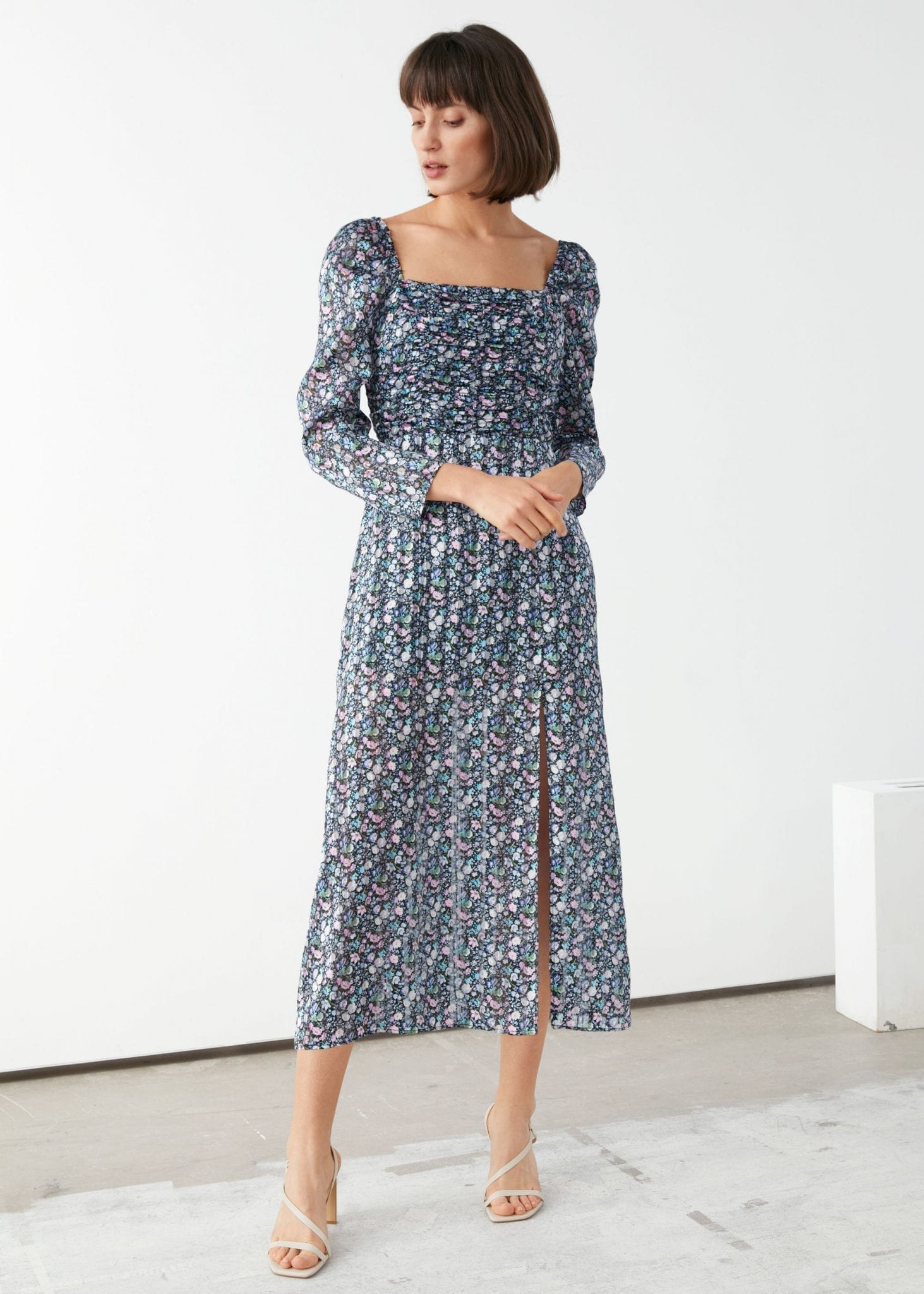 AND OTHER STORIES Square Neck Floral Midi Dress