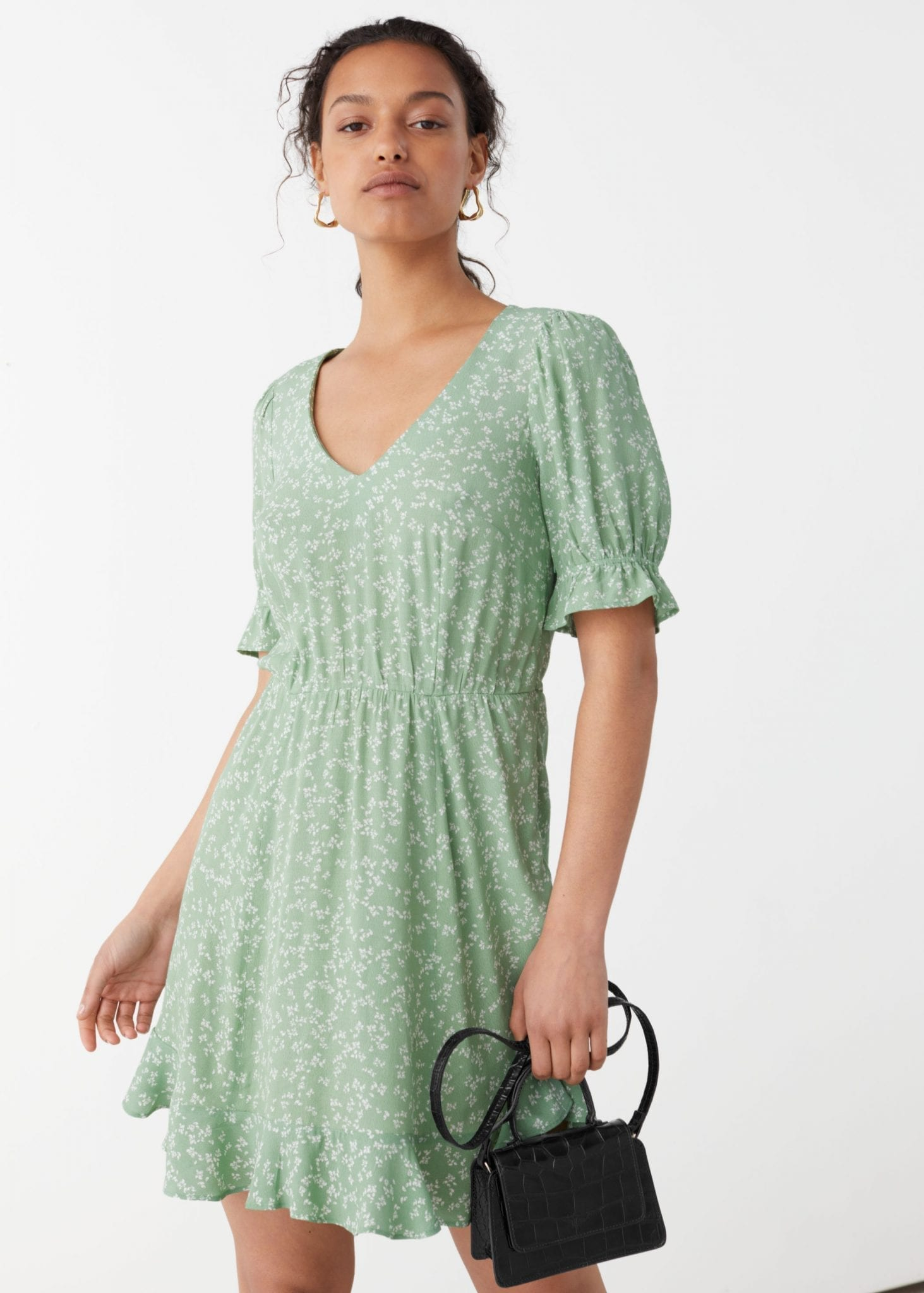 AND OTHER STORIES V-Neck Puff Sleeve Mini Dress