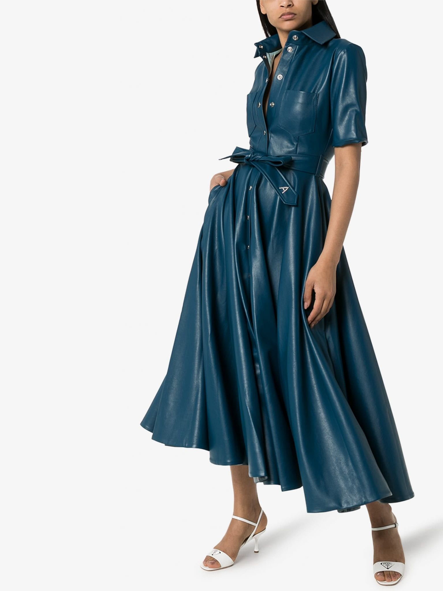 ANOUKI Vegan Leather Flared Shirt Dress